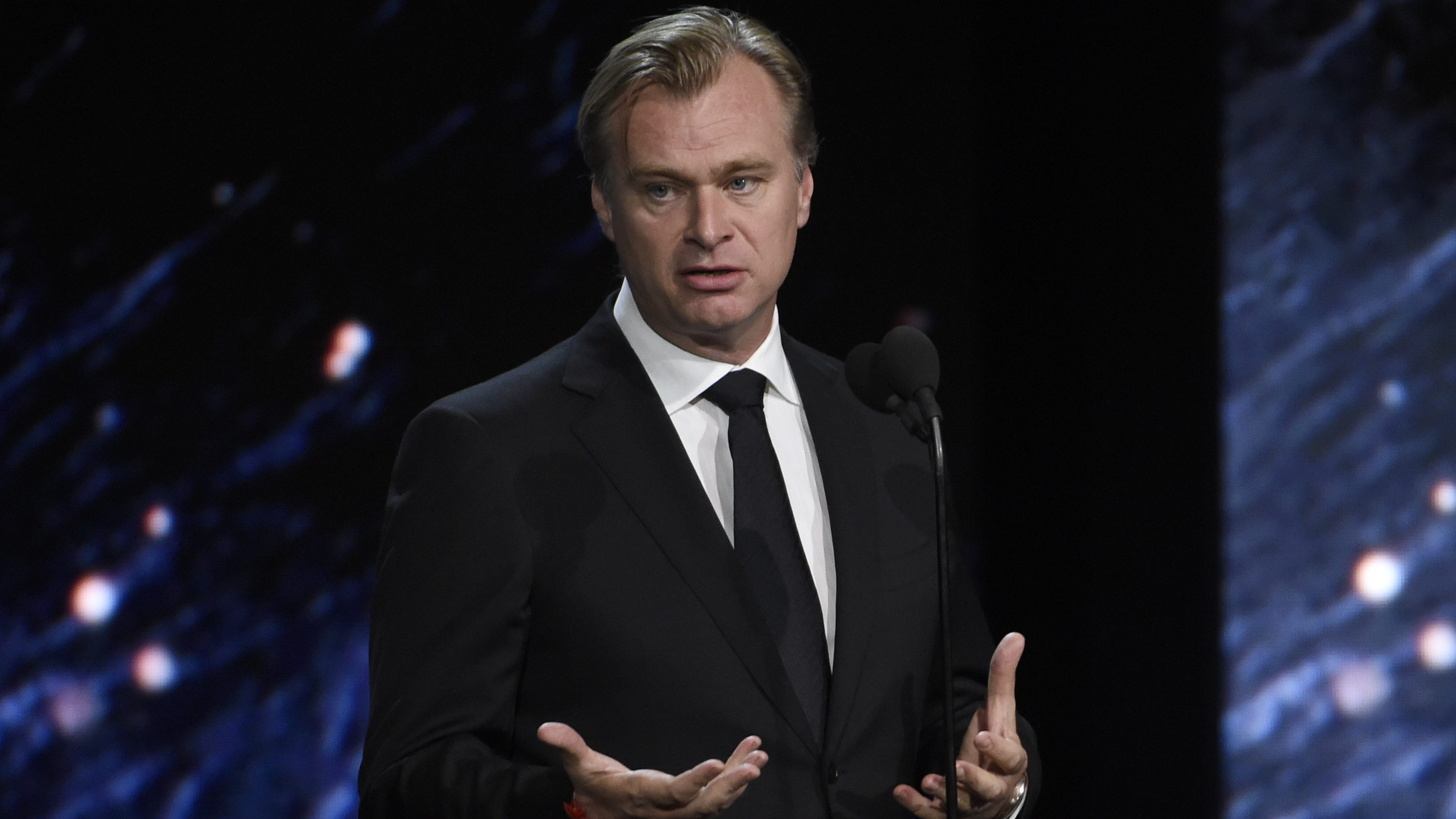 Christopher Nolan presents the Albert R. Broccoli award for worldwide contribution to entertainment at the BAFTA Los Angeles Britannia Awards at the Beverly Hilton Hotel on Friday, Oct. 27, 2017, in Beverly Hills, Calif. (Photo by Chris Pizzello/Invision/AP)
