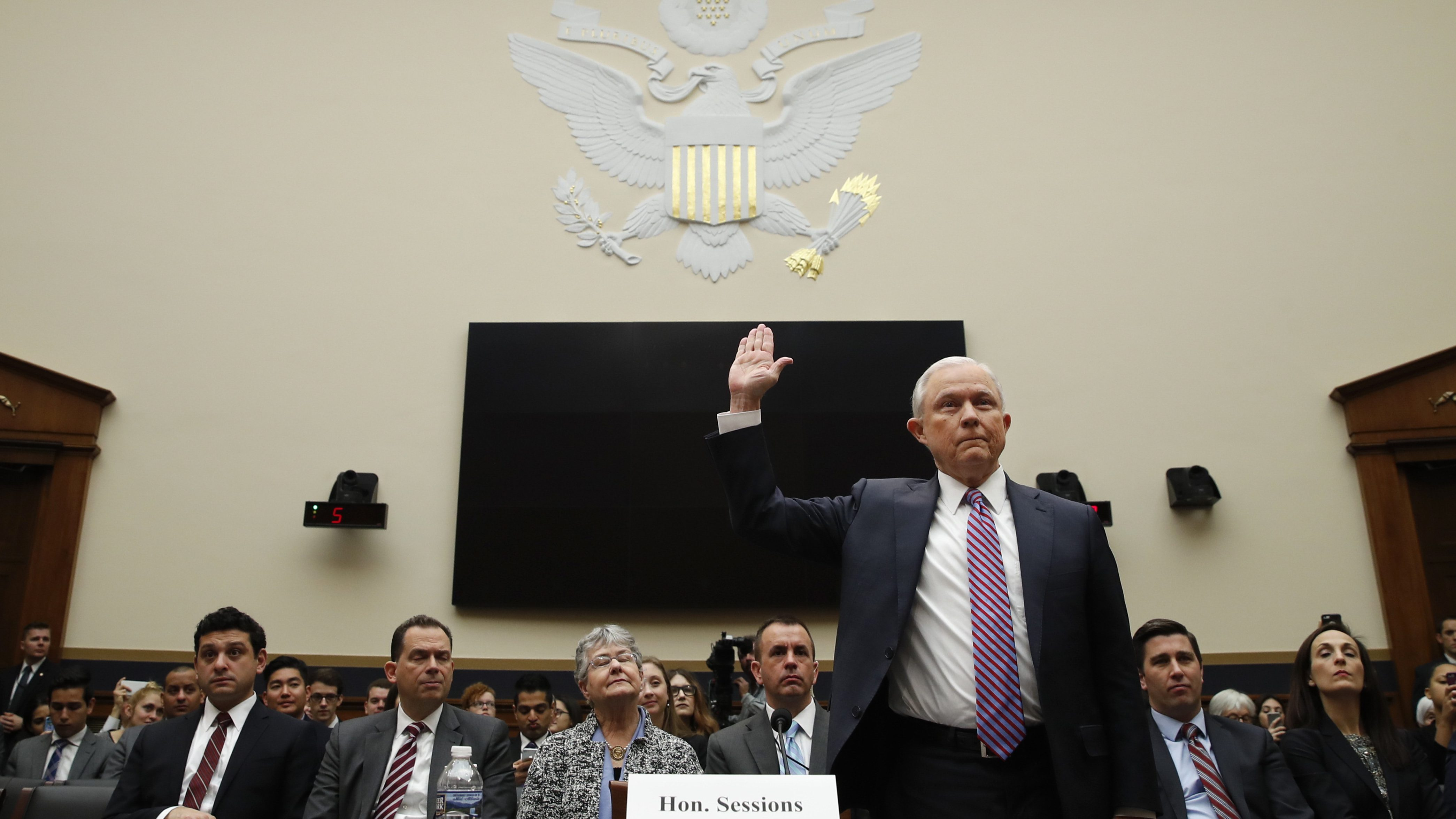 Attorney General Jeff Sessions is sworn in before the House Judiciary Committee on Capitol Hill, Tuesday, Nov. 14, 2017 in Washington. Sessions is expected to answer a range of questions from Russian meddling in the presidential campaign and his interest in a special counsel to investigate the Clinton Foundation.  (AP Photo/Alex Brandon)