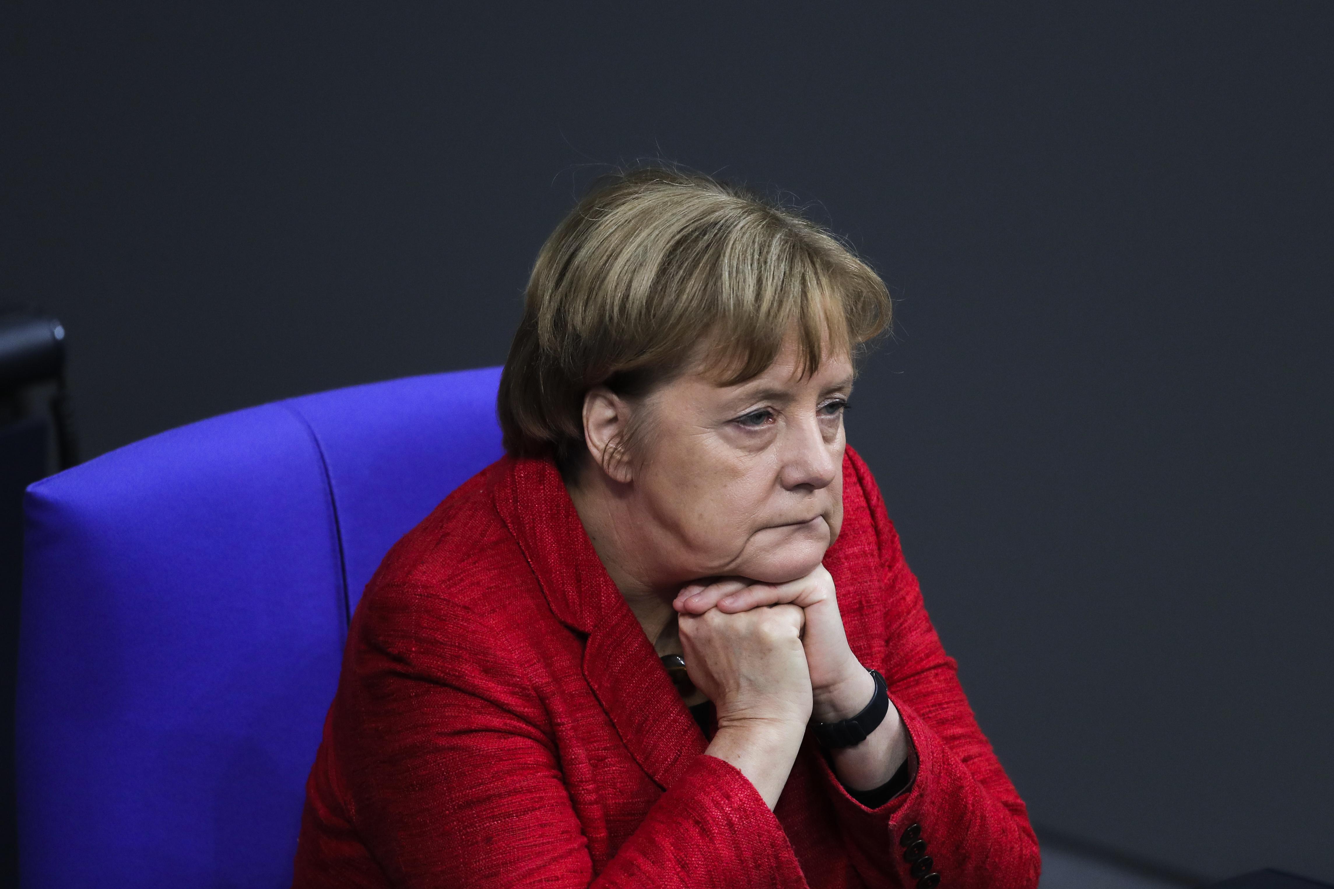 German Chancellor Angela Merkel attends a plenary session of German parliament Bundestag in Berlin, Tuesday, Nov. 21, 2017. (AP Photo/Markus Schreiber)