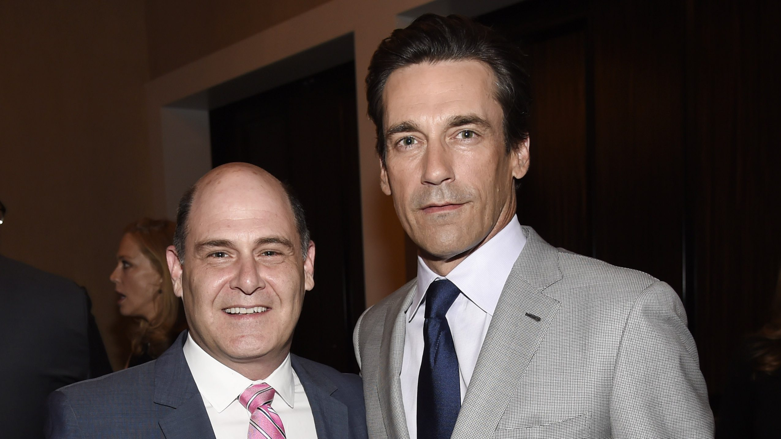 "Matthew Weiner, left, creator of the television series ""Mad Men,"" poses with the show's star Jon Hamm at the 31st Annual Television Critics Association Awards Show at the Beverly Hilton on Saturday, Aug. 8, 2015, in Beverly Hills, Calif. (Photo by Chris Pizzello/Invision/AP)"