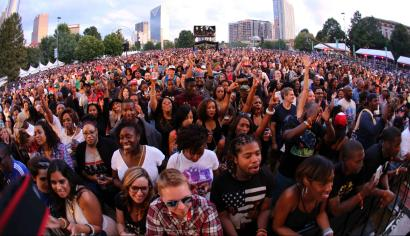 This was the second of three sold out shows in downtown Atlanta's Centennial Olympic Park commemorating the 20th anniversary of the Grammy-winning hip-hop duo Outkast with André Lauren Benjamin as André 3000 and Antwan André Patton as Big Boi performing as part of the Outkast #ATLast celebration on Saturday, Sep. 27, 2014, in Atlanta. (Photo by Robb D. Cohen/Invision/AP)