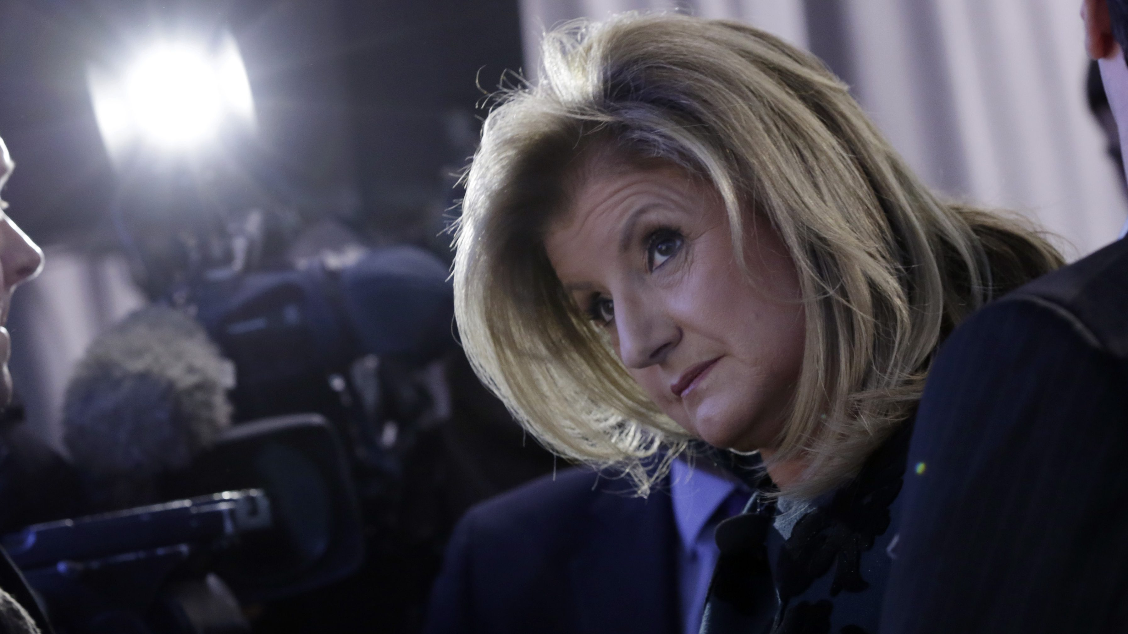 Arianna Huffington, the co-founder and editor-in-chief of The Huffington Post, attends a London business expo, in New York,  Wednesday, Feb. 11, 2015. (AP Photo/Richard Drew)