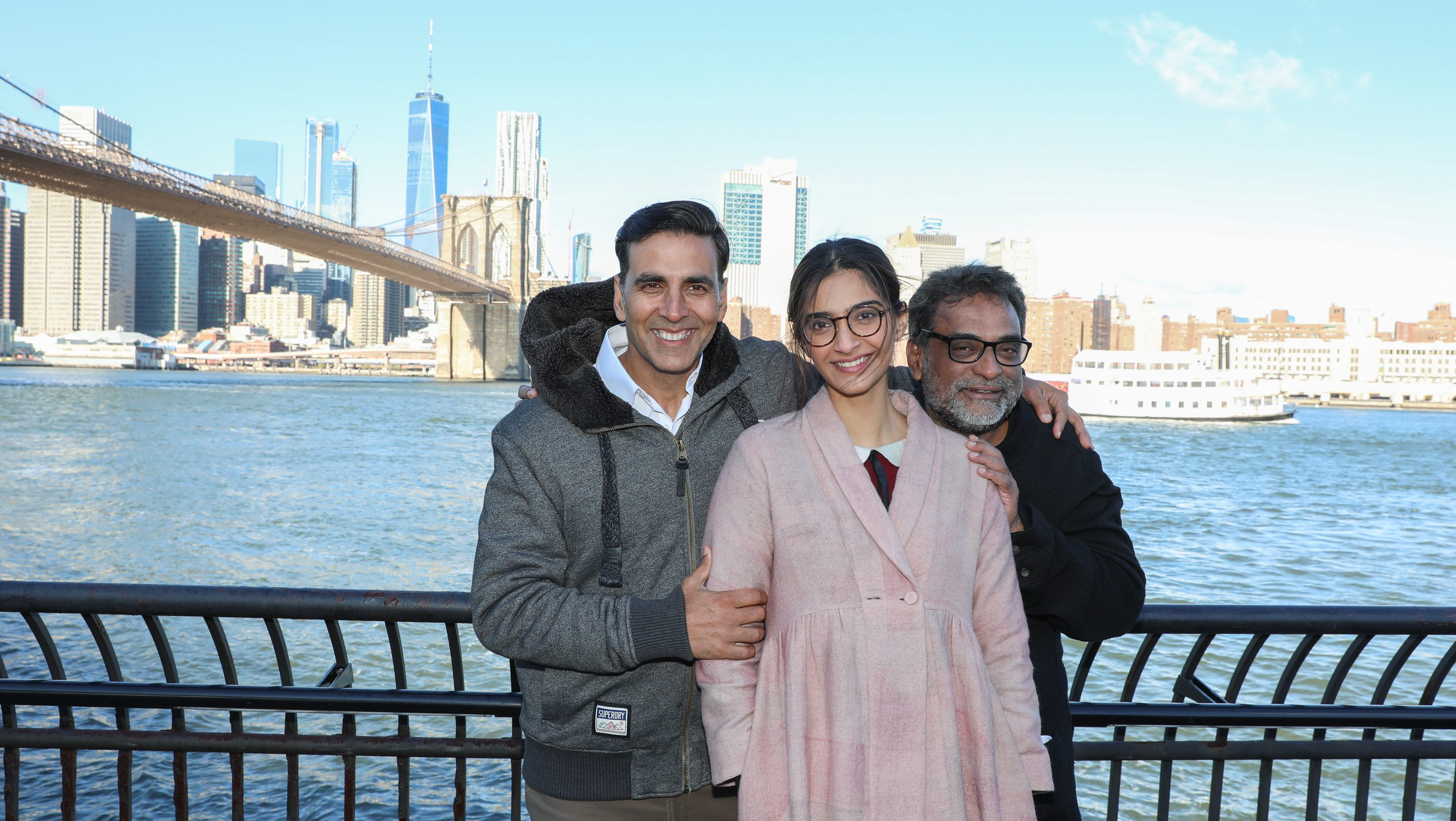 Sony Pictures Padman stars Akshay Kumar, Soman Kapoor and director R. Balki shoot near the Brooklyn Bridge on Friday, Nov. 17, 2017, in Brooklyn, N.Y. (Photo by Amy Sussman/Invision for Sony Pictures/AP Images)