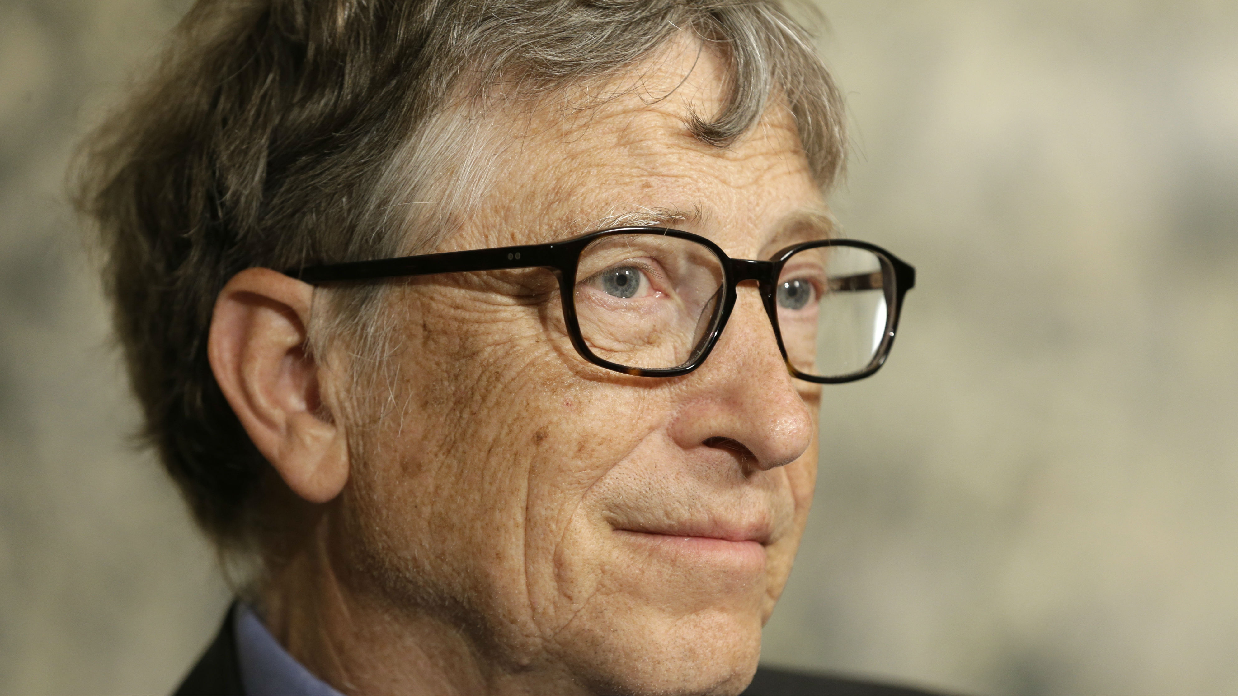 Bill Gates talks to reporters about the 2016 annual letter from the Bill and Melinda Gates Foundation in New York, Monday, Feb. 22, 2016.