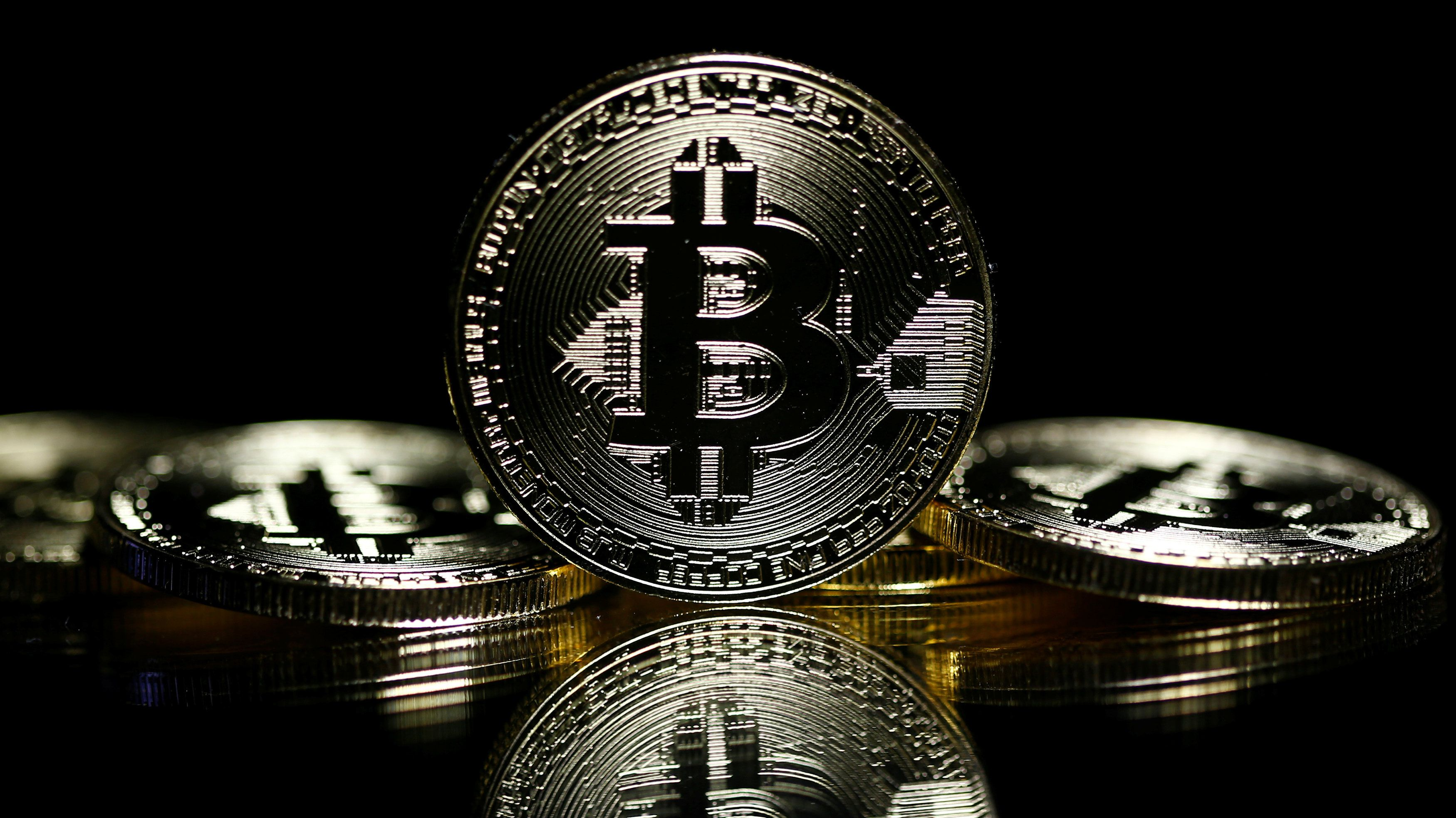 Bitcoins are seen in this illustration picture taken September 27, 2017.