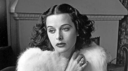Glamorous portrait of movie actress Hedy Lamarr wearing white