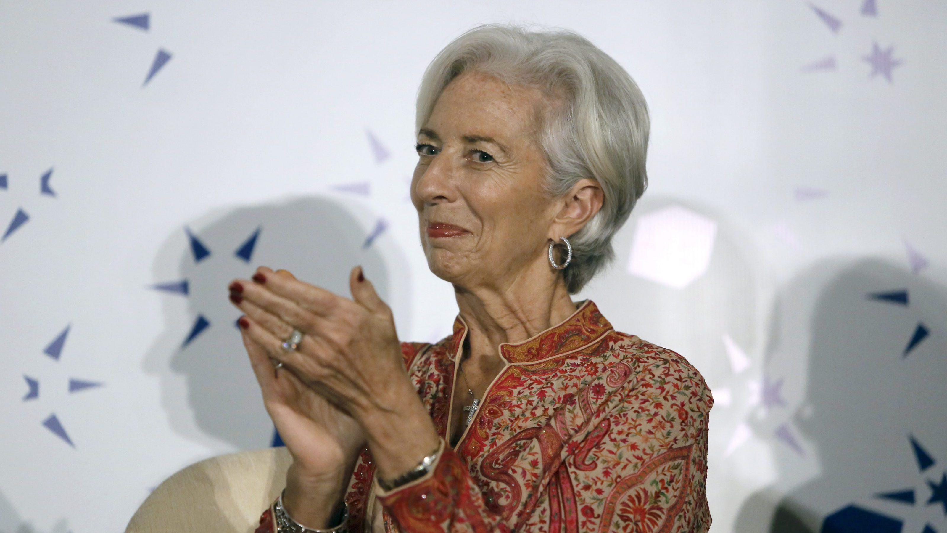 International Monetary Fund (IMF) Managing Director Christine Lagarde applauds