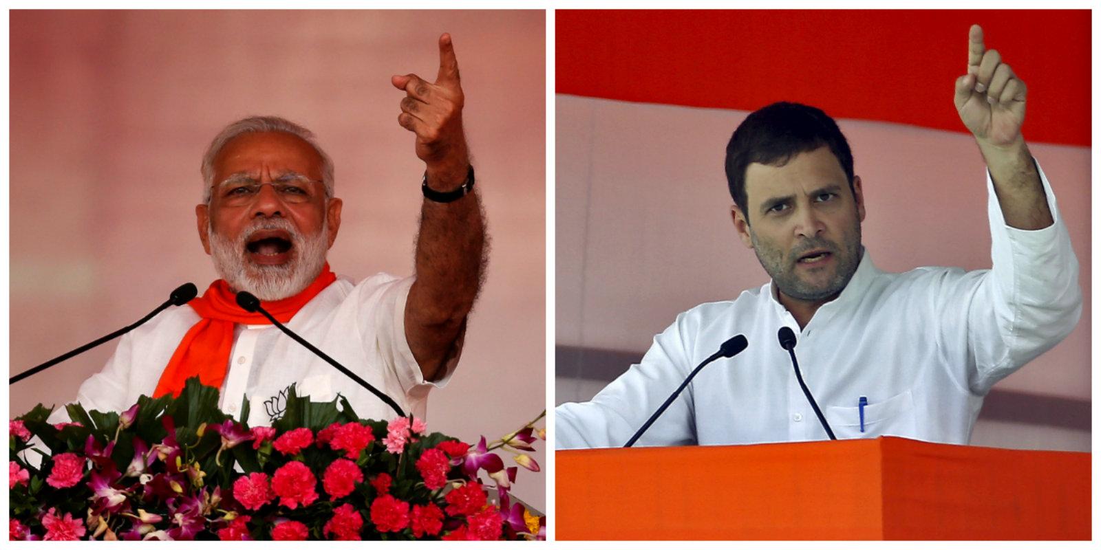 Narendra Modi addressing a rally near Ahmedabad. (R) Rahul Gandhi at another rally.