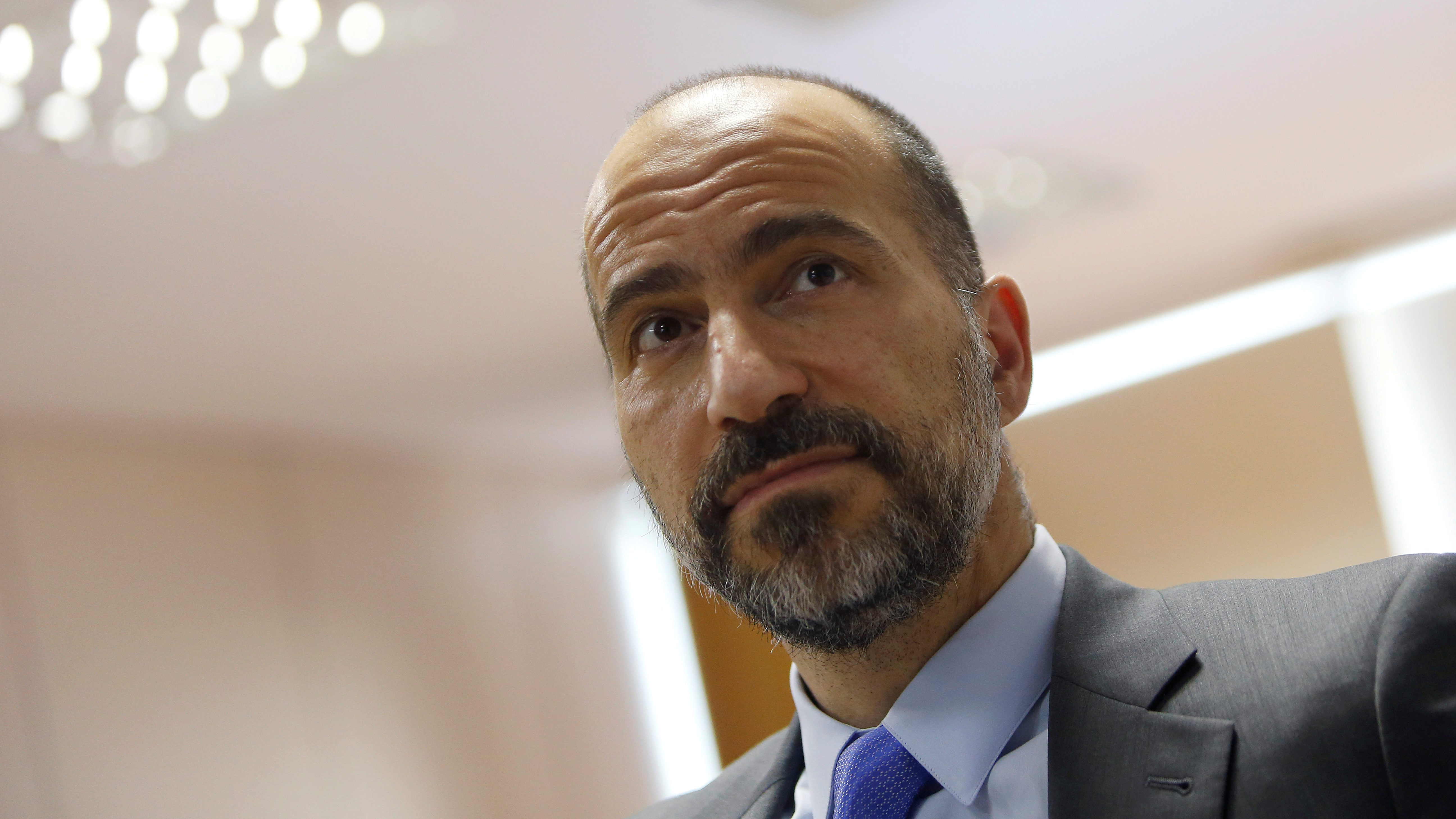 FILE PHOTO:    The chief executive of Uber Technologies Inc, Dara Khosrowshahi attends a meeting with Brazilian Finance Minister Henrique Meirelles (not pictured) in Brasilia, Brazil October 31, 2017. REUTERS/Adriano Machado/File Photo - RC136F0B6110