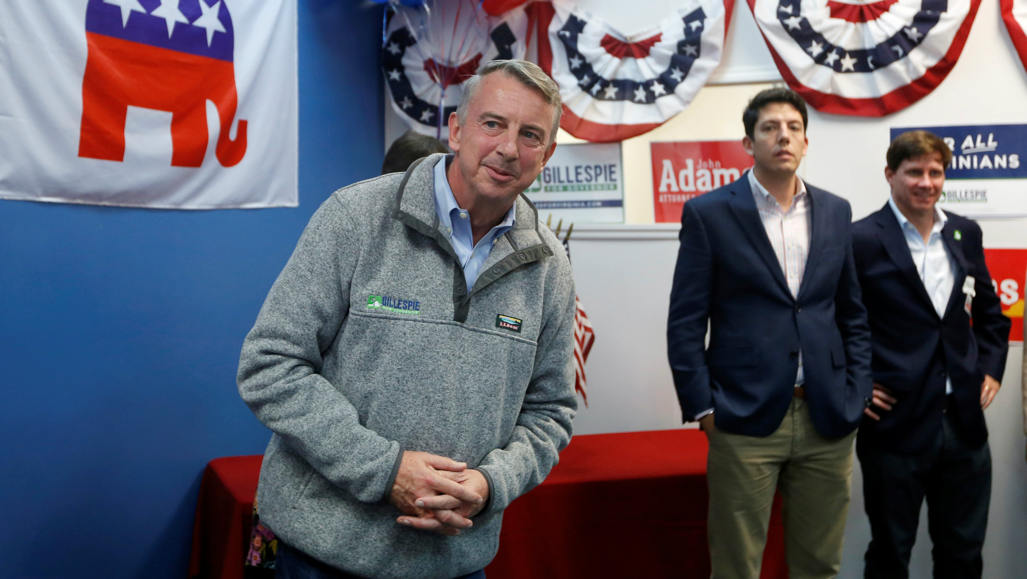 Republican Party contender Ed Gillespie, who is campaigning to be elected as Virginia's governor, greets supporters during a rally in Chesapeake, Virginia, U.S. November 6, 2017.