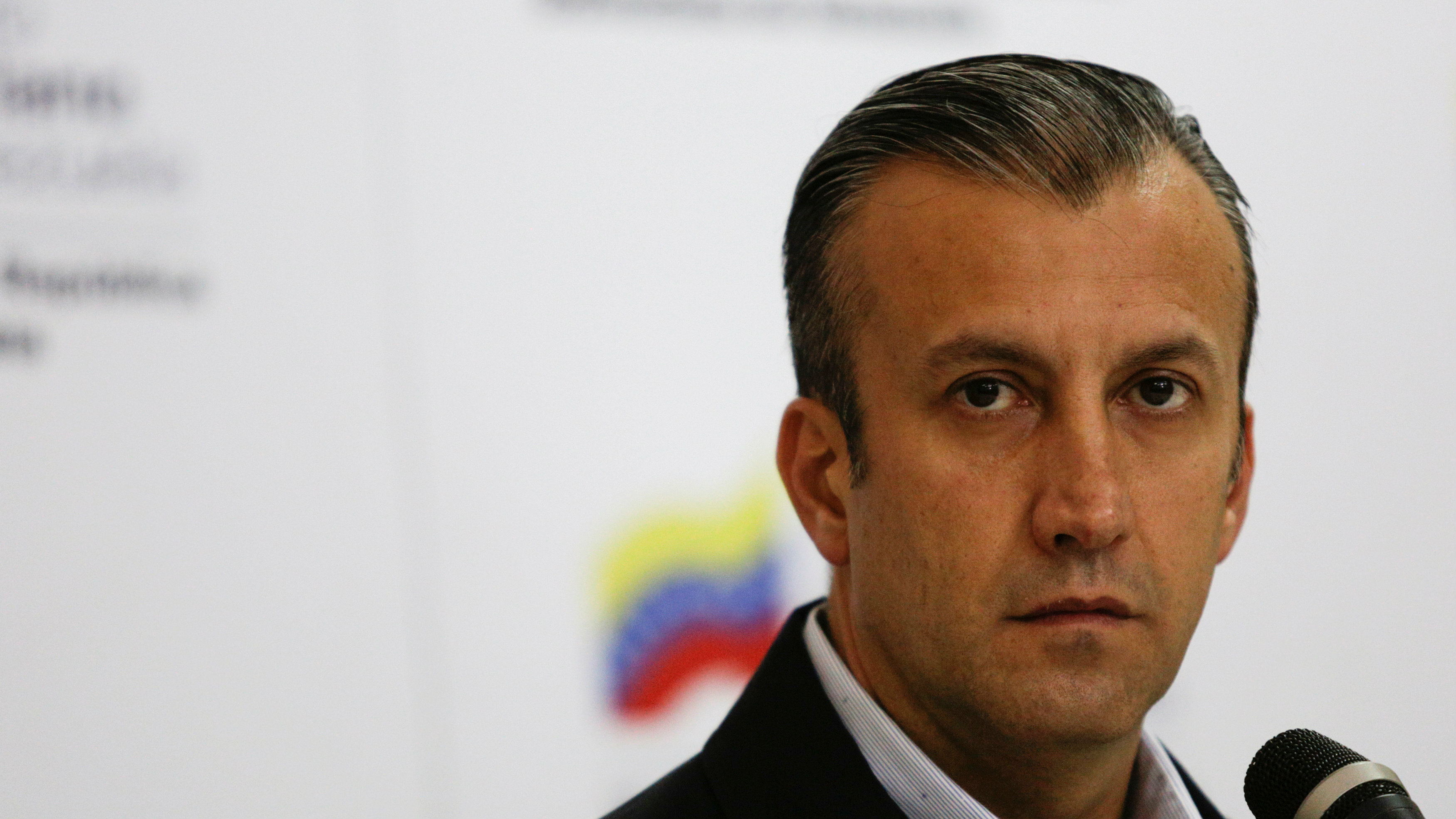 Venezuela's Vice President Tareck El Aissami pauses as he talks to the media during a news conference in Caracas, Venezuela April 6, 2017.