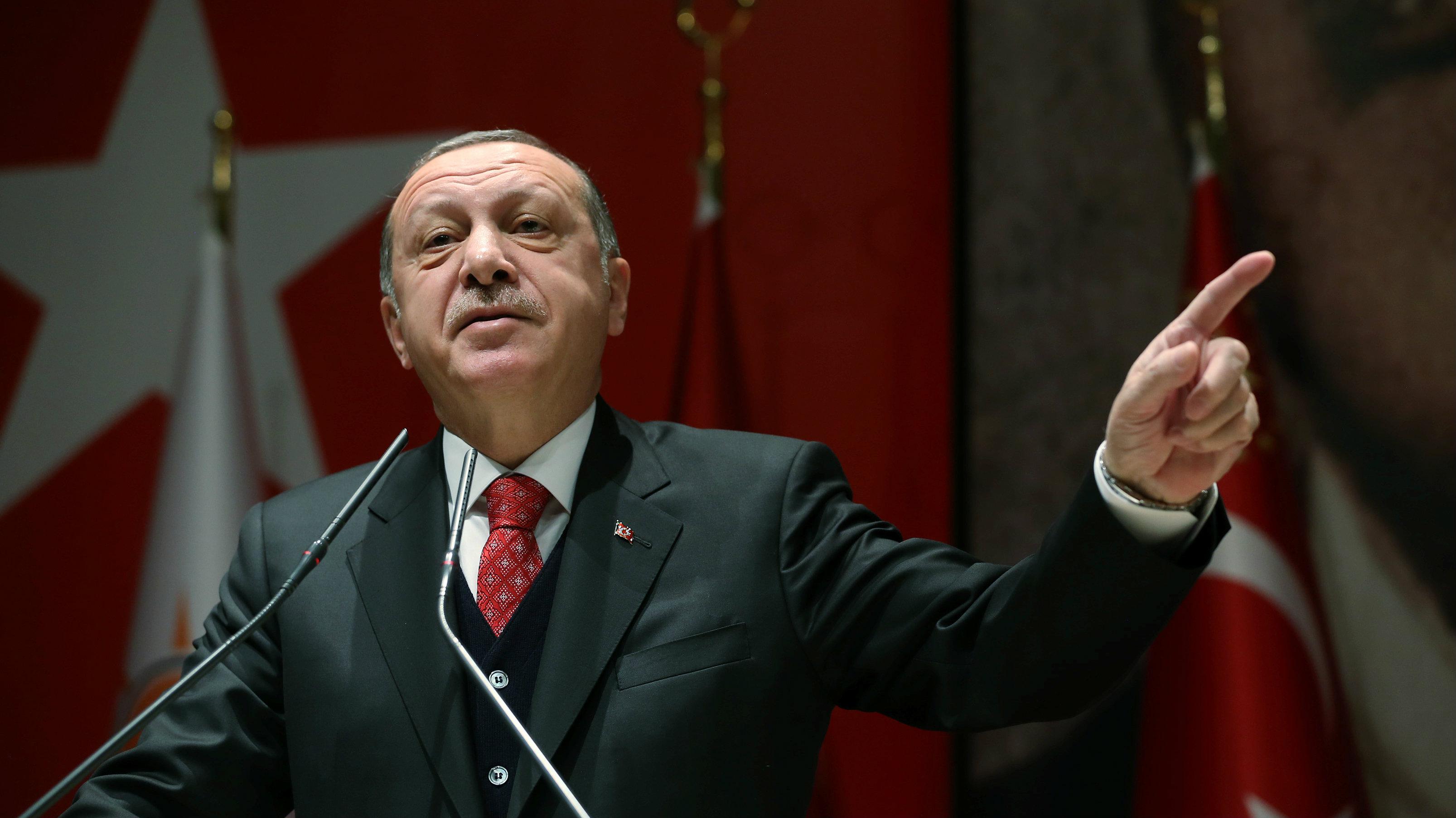 Turkey's President Tayyip Erdogan giving a speech
