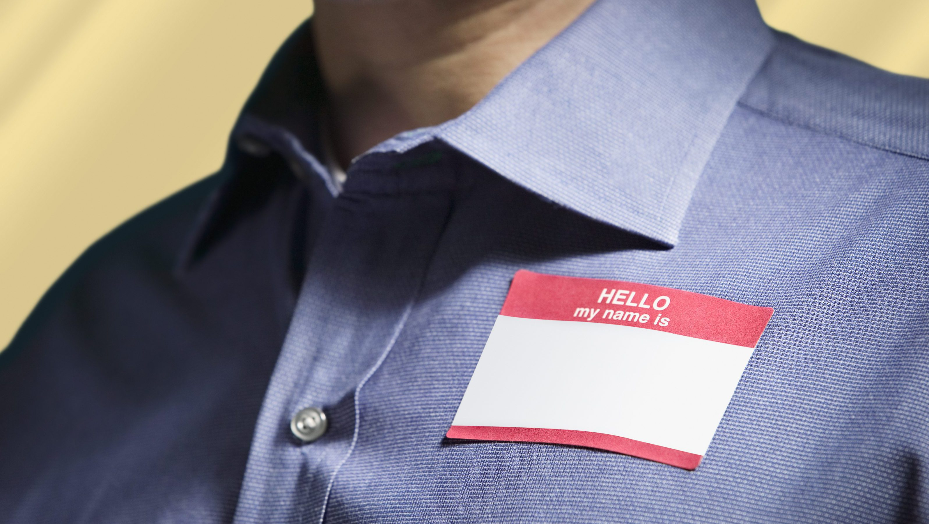 A Hello My Name is name tag