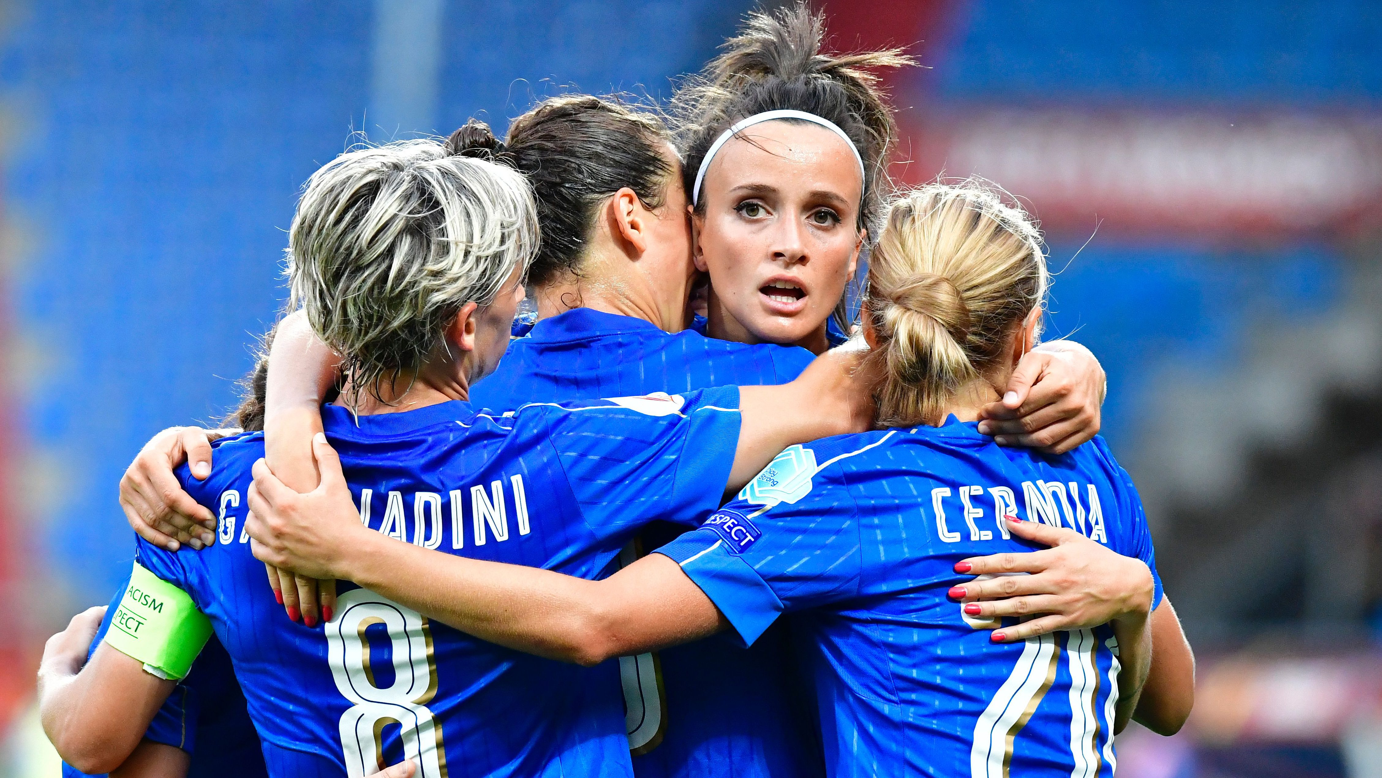 Italy's forward Ilaria Mauro celebrates after scoring a goal during the UEFA Women's Euro 2017 football tournament between Germany and Italy at Stadium Koning Willem II in Tilburg on July 21, 2017.  / AFP PHOTO / TOBIAS SCHWARZ        (Photo credit should read TOBIAS SCHWARZ/AFP/Getty Images)