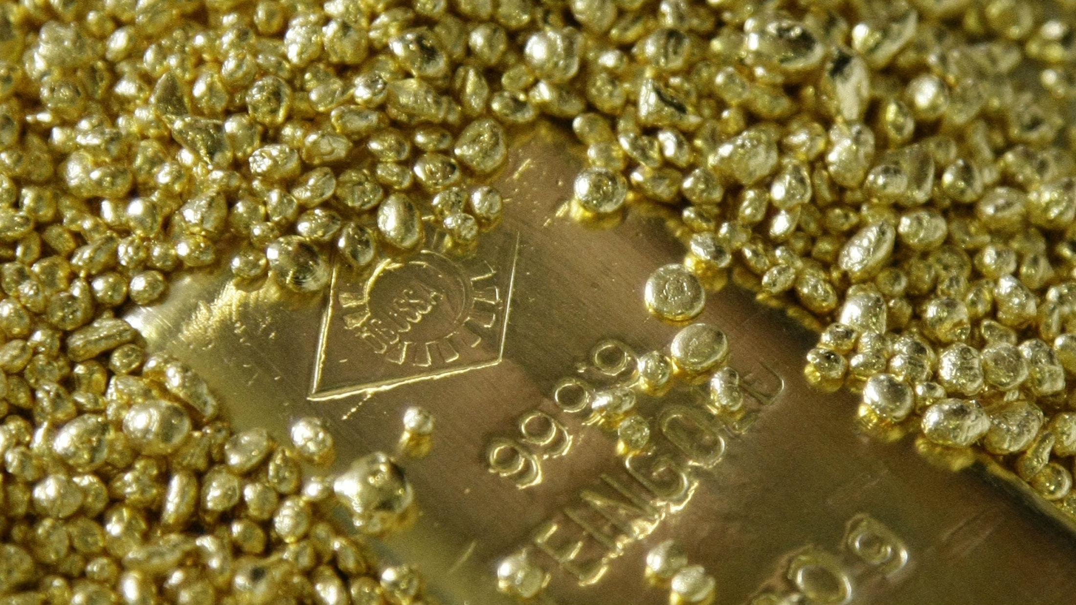 Gold bar and granules