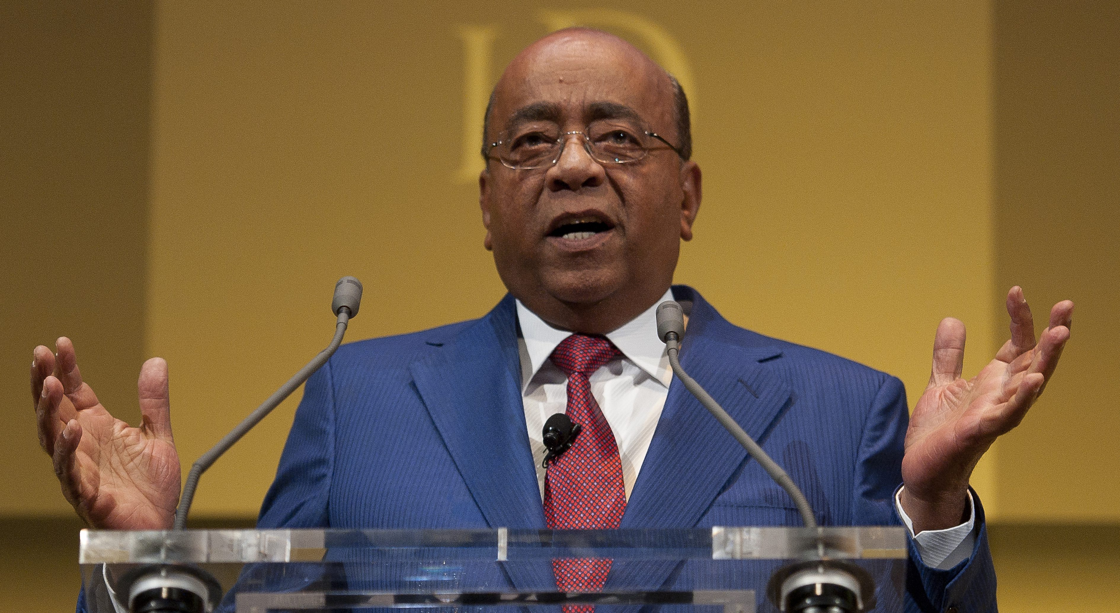 Mo Ibrahim, Founder of Celtel and Satya Capital, delivers a speech at the Institute of Directors Convention at the Royal Albert Hall, Central London, Britain, 03 October 2014. The annual convention brings together business leaders and politicians to discuss the business strategy and the world economy.