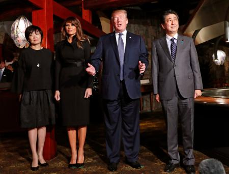 US President Donald J. Trump (2-R) with his wife Melania Trump (2-L) and Japan's Prime Minister Shinzo Abe (R) with his wife Akie Abe (L) meet for a dinner at a restaurant in Tokyo, Japan, 05 November 2017. Trump is on an official visit to Japan.