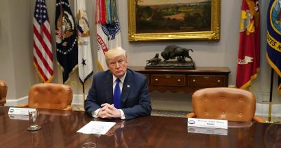 US President Donald J. Trump speaks to the media during a meeting with congressional leadership in the Roosevelt Room at the White House, in Washington, DC, USA, 28 November 2017. Trump spoke on the recent intercontinental ballistic missile launch by North Korea.