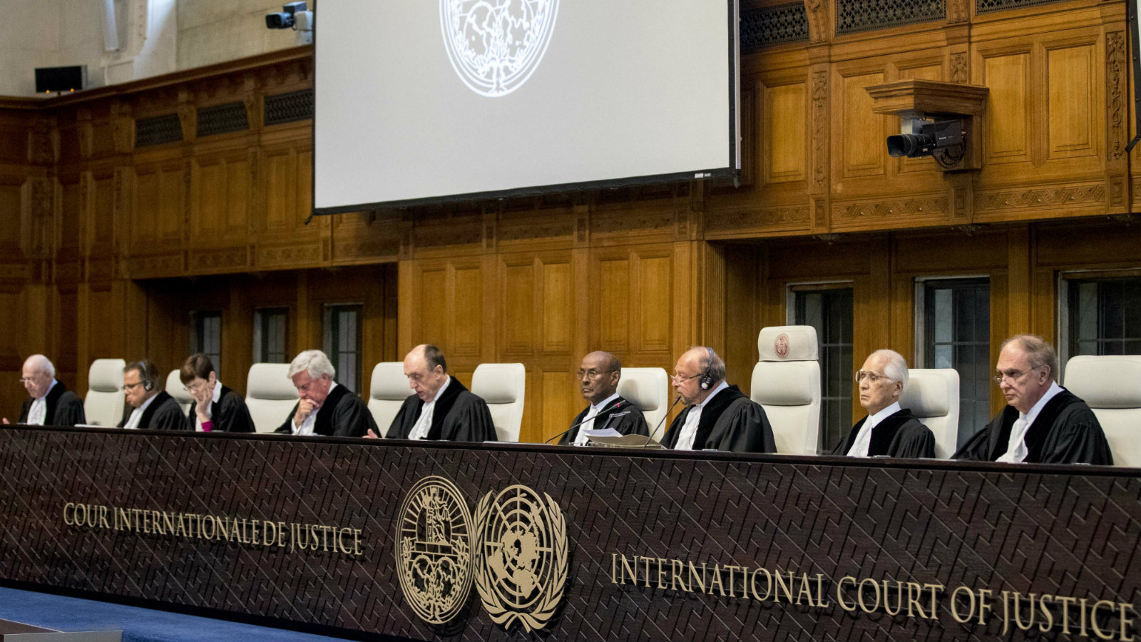 Judges presiding in the ruling of the International Court of Justice on Ukraine's request for emergency order to stop Russia financing, supporting, and arming rebels in the East, during the ICJ session in The Hague, Netherlands, 19 April 2017.