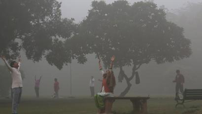 Indian people perform yoga as the Lodhi garden is engulfed in heavy smog during early morning in New Delhi, India, 08 November 2017. People in the Indian capital city are struggling with heavily polluted air as air quality hit 'severe levels,' according to reports. EPA-EFE/RAJAT GUPTA