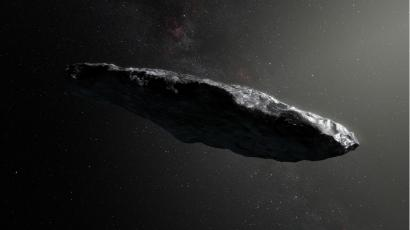 an artist's rendition of the first interstellar asteroid.