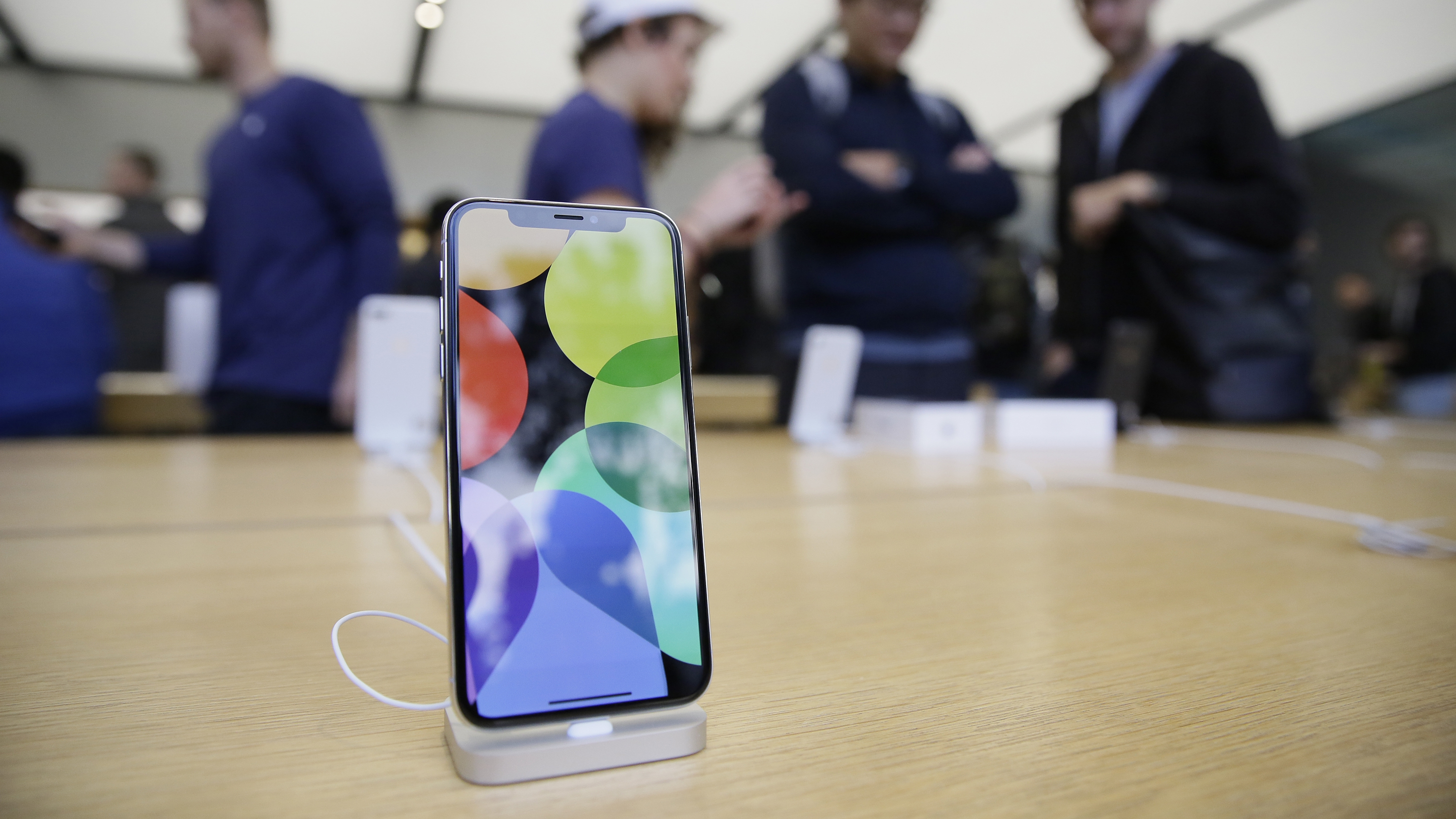 Apple iphone owners running ios 11 are getting symbols instead of the new iphone x is seen on display at the apple union square store friday biocorpaavc Choice Image