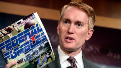 Sen. James Lankford, R-Okla., a member of the Senate Appropriations Committee, holds a news conference to outline the release of his report on wasteful spending in the federal government, on Capitol Hill in Washington, Monday, Nov. 27, 2017.