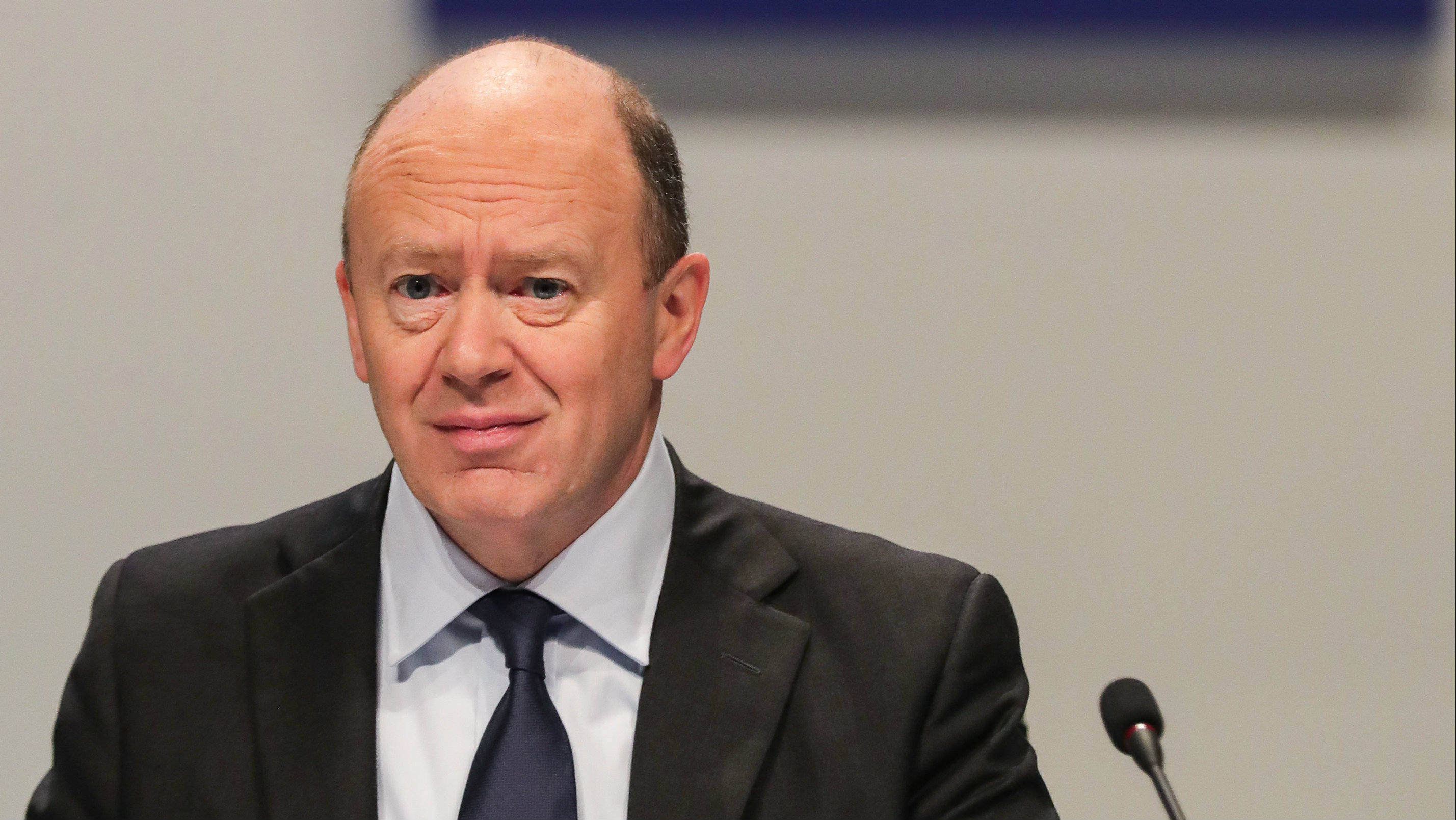 Deutsche Bank CEO John Cryan during the Deutsche Bank Annual General Meeting 2017 in Frankfurt Main, Germany, 18 May 2017. Deutsche Bank state that the meeting is being help for the presentation of the established Annual Financial Statements and Management Report for the 2016 financial year, the approved Consolidated Financial Statements and Management Report for the 2016 financial year as well as the Report of the Supervisory Board.