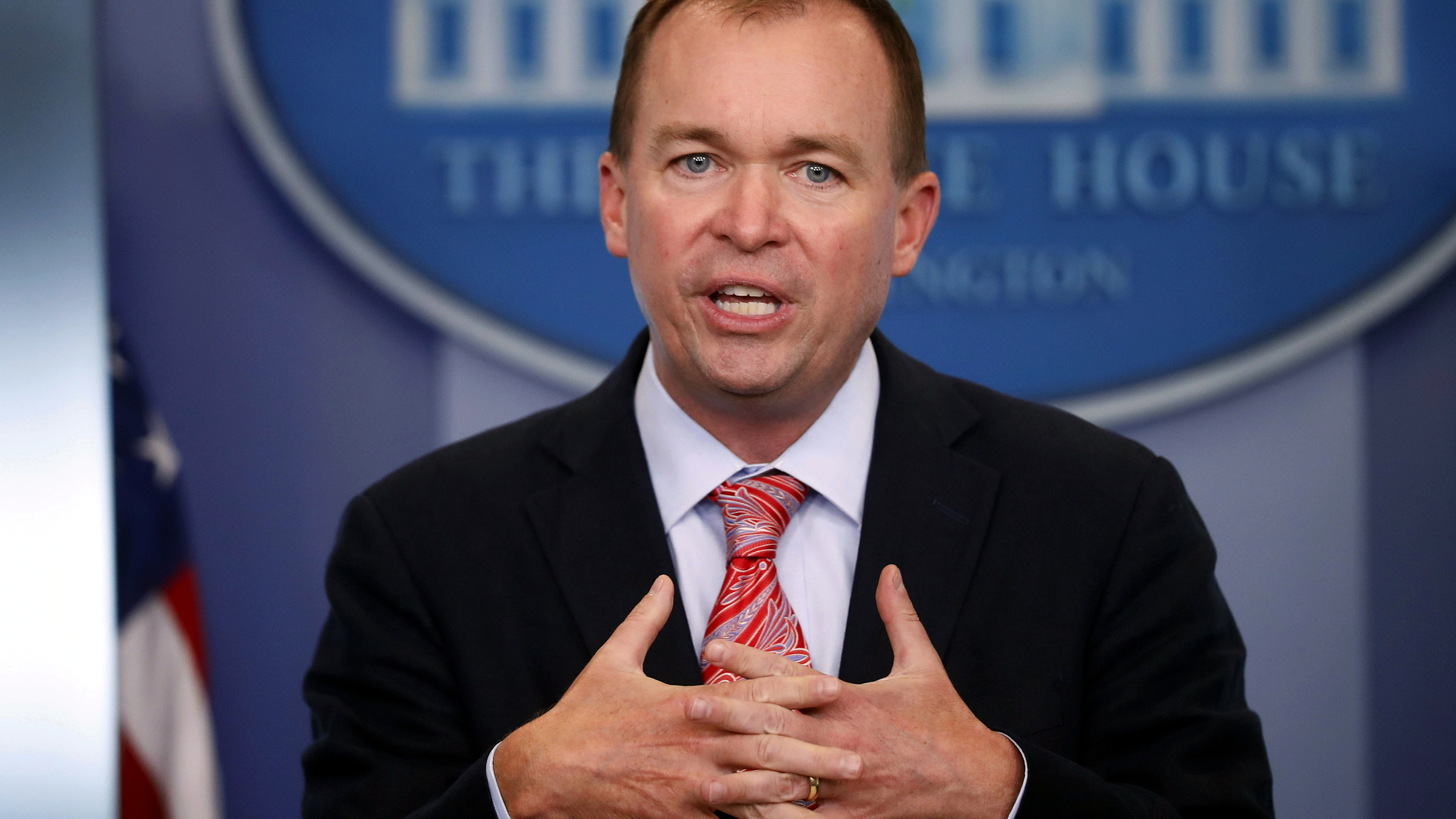 Budget Director Mick Mulvaney gestures as he speaks during the daily press briefing at the White House in Washington, Thursday, July 20, 2017.