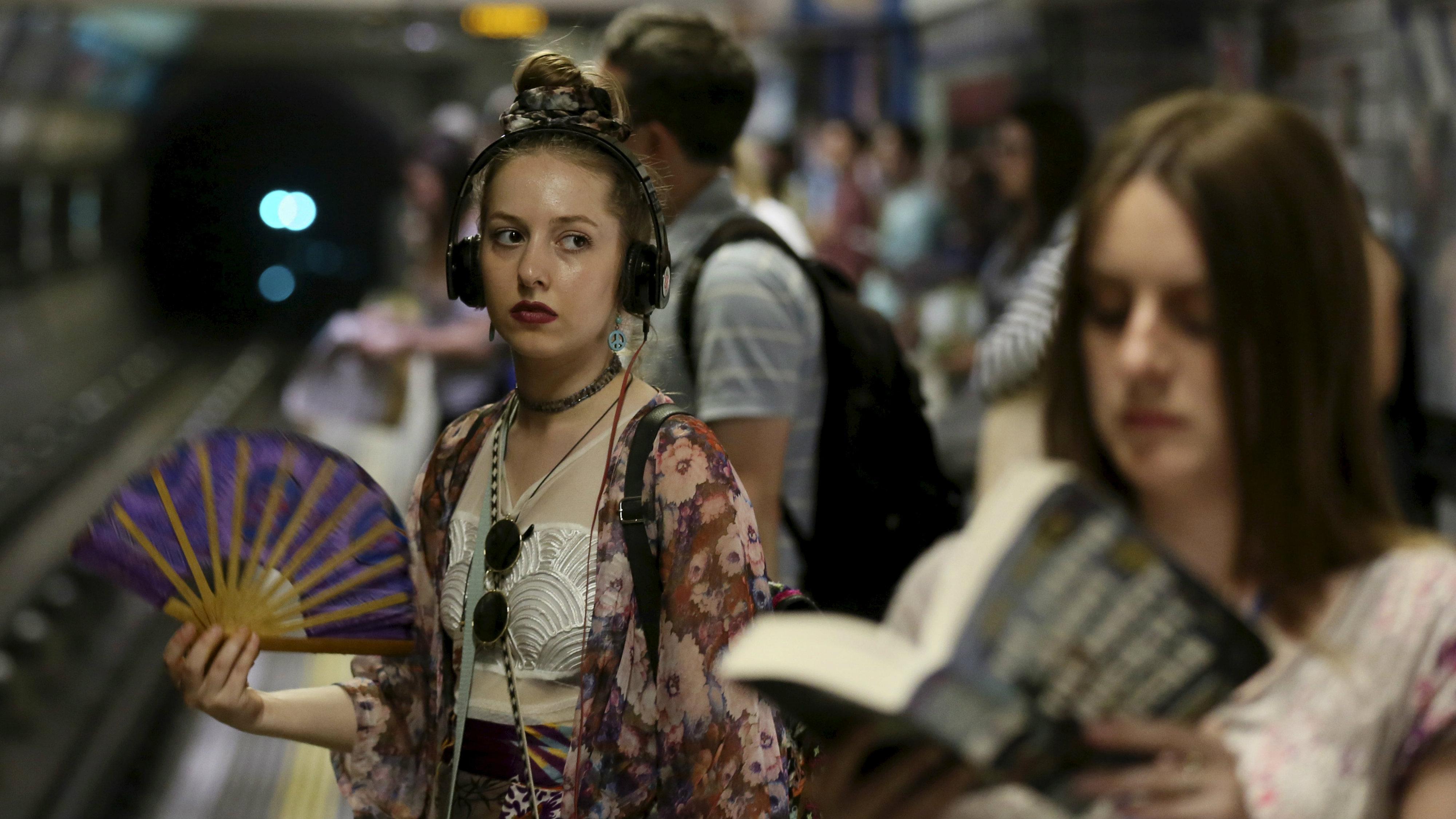 Millennial boarding a train