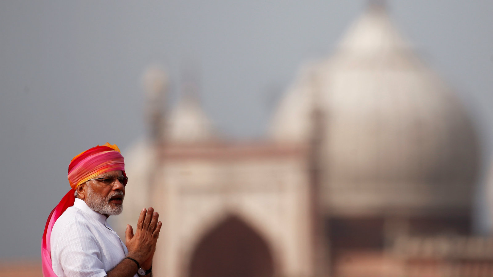 Indian Prime Minister Modi addresses the nation from the historic Red Fort during Independence Day celebrations...