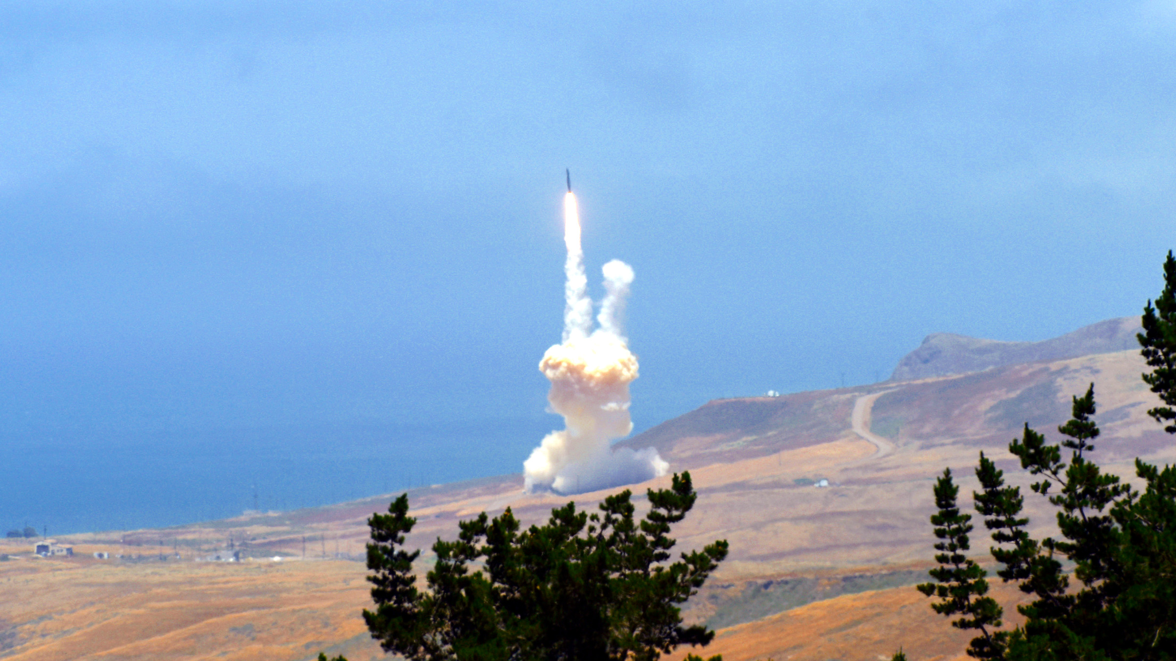 A missile interceptor launches from California's Vandenberg Air Force base during a 2017 test.
