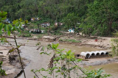 temporary bridge to connect isolated community in utuado puerto rico after maria
