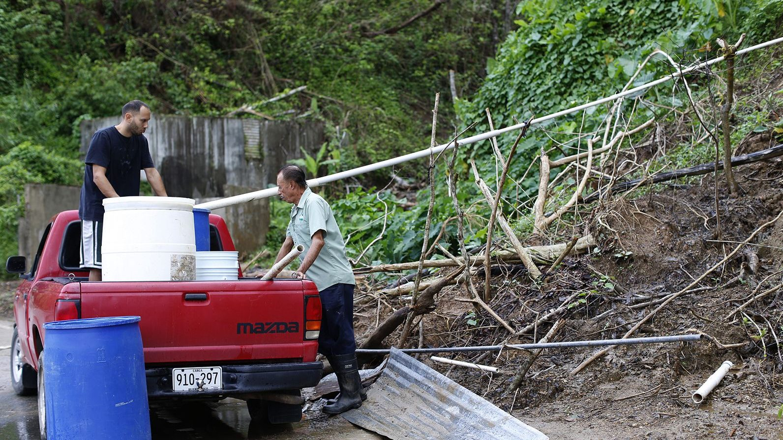 puerto ricans without water service collect mountain runoff