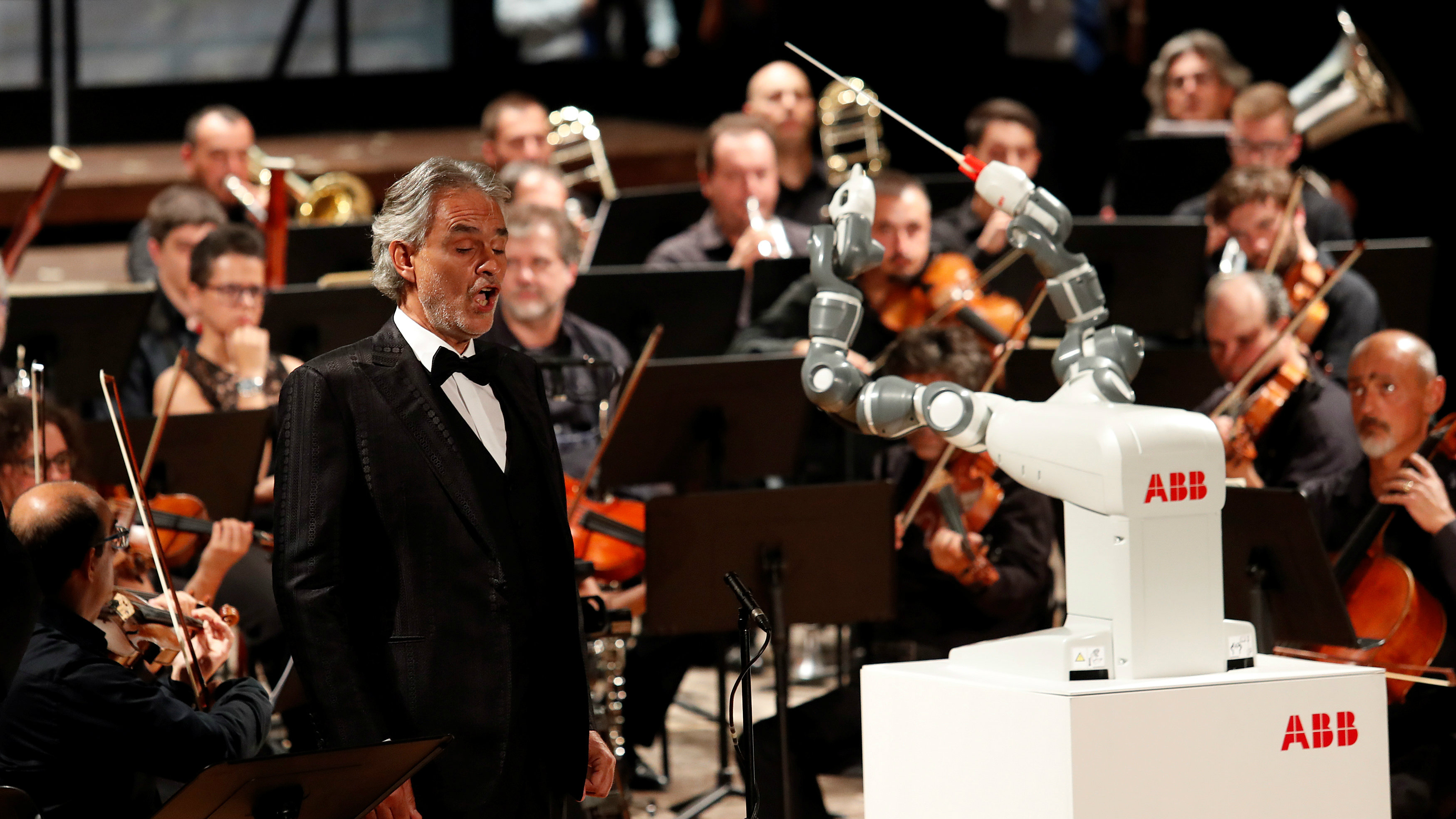 Humanoid robot YuMi conducts the Lucca Philharmonic Orchestra