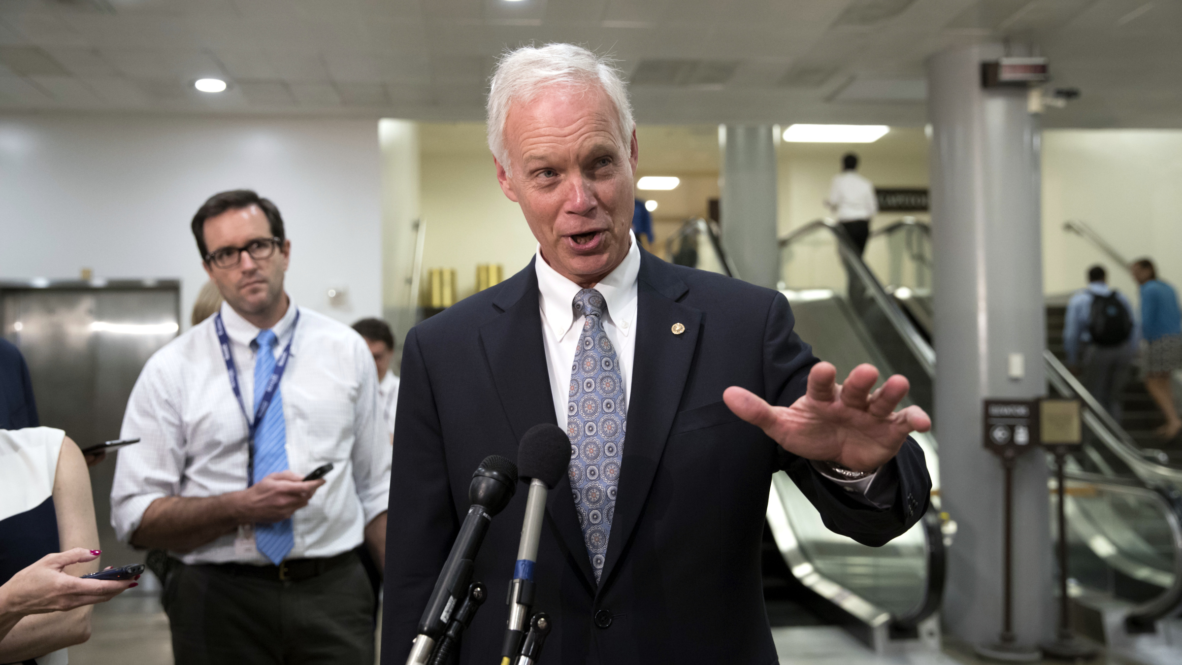 Senate Foreign Relations Committee member Sen. Ron Johnson, R-Wis. talks to reporters on Capitol Hill Washington, Wednesday, Aug. 2, 2017.