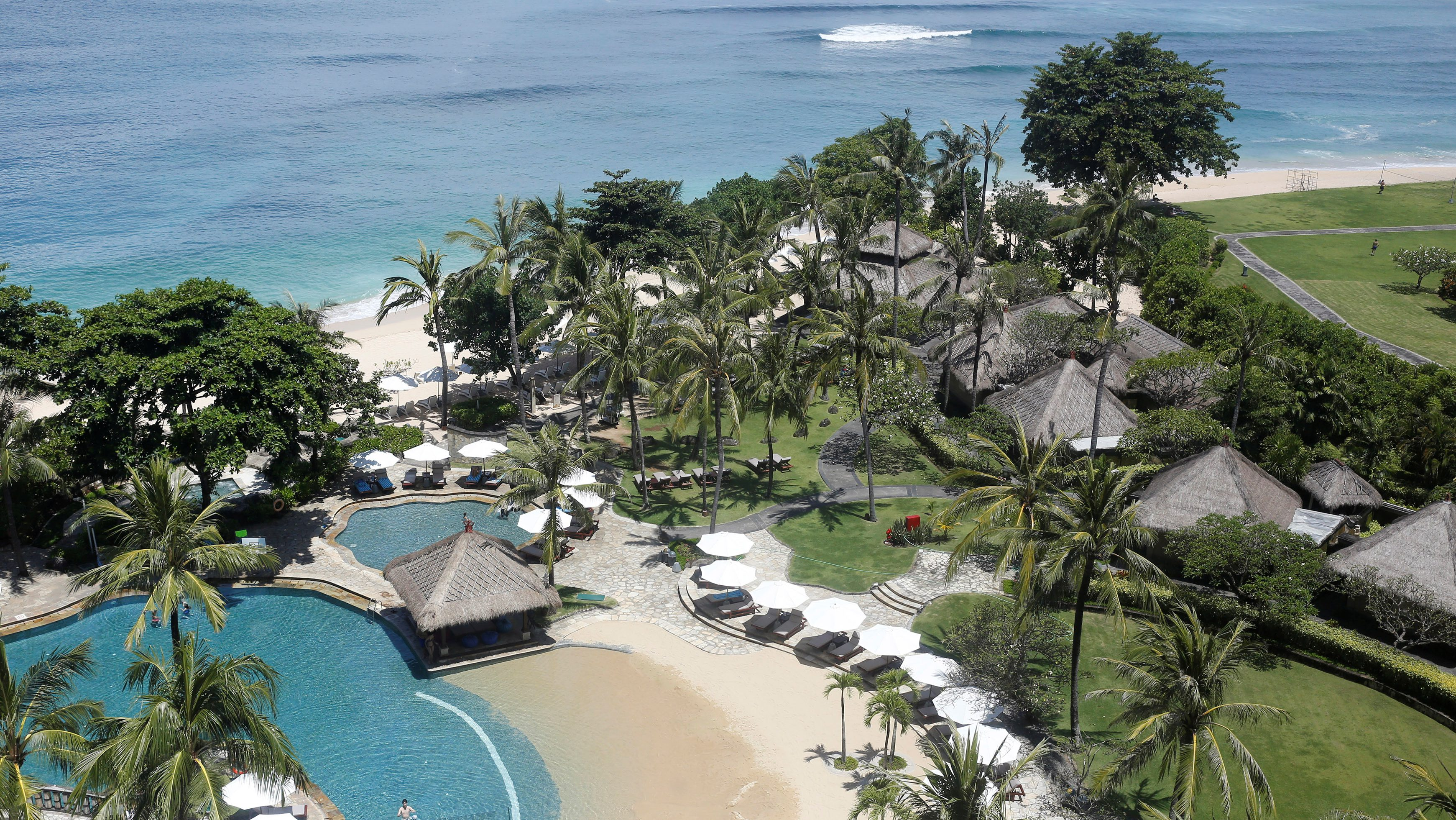 A view of part of the grounds of the Hilton Bali Resort located in the luxury resort area of Nusa Dua ahead of Saudi Arabia's King Salman's visit on the island of Bali, Indonesia