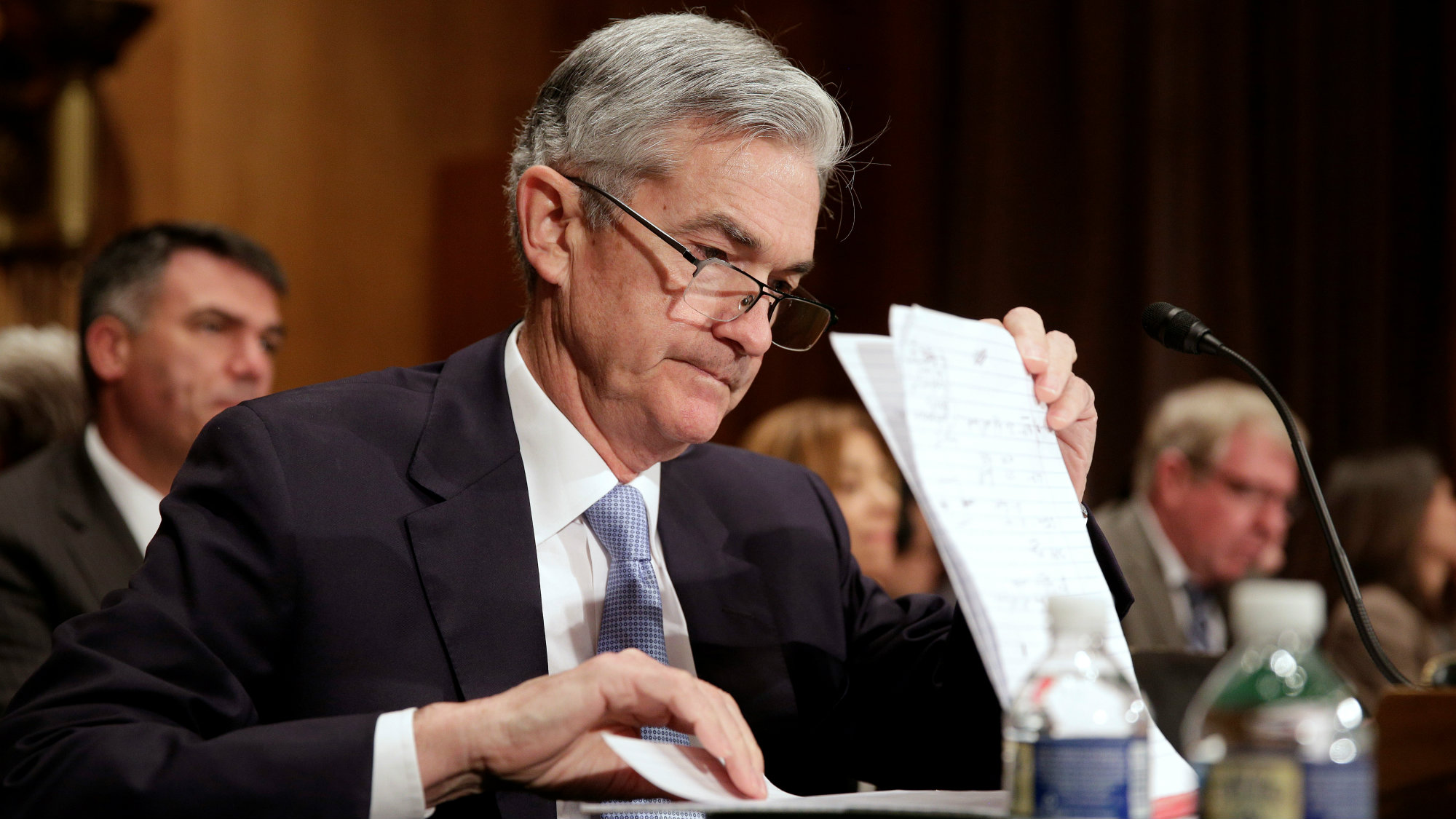 Jerome H. Powell, a governor on the board of the Federal Reserve System, prepares to testify to the Senate Banking Committee