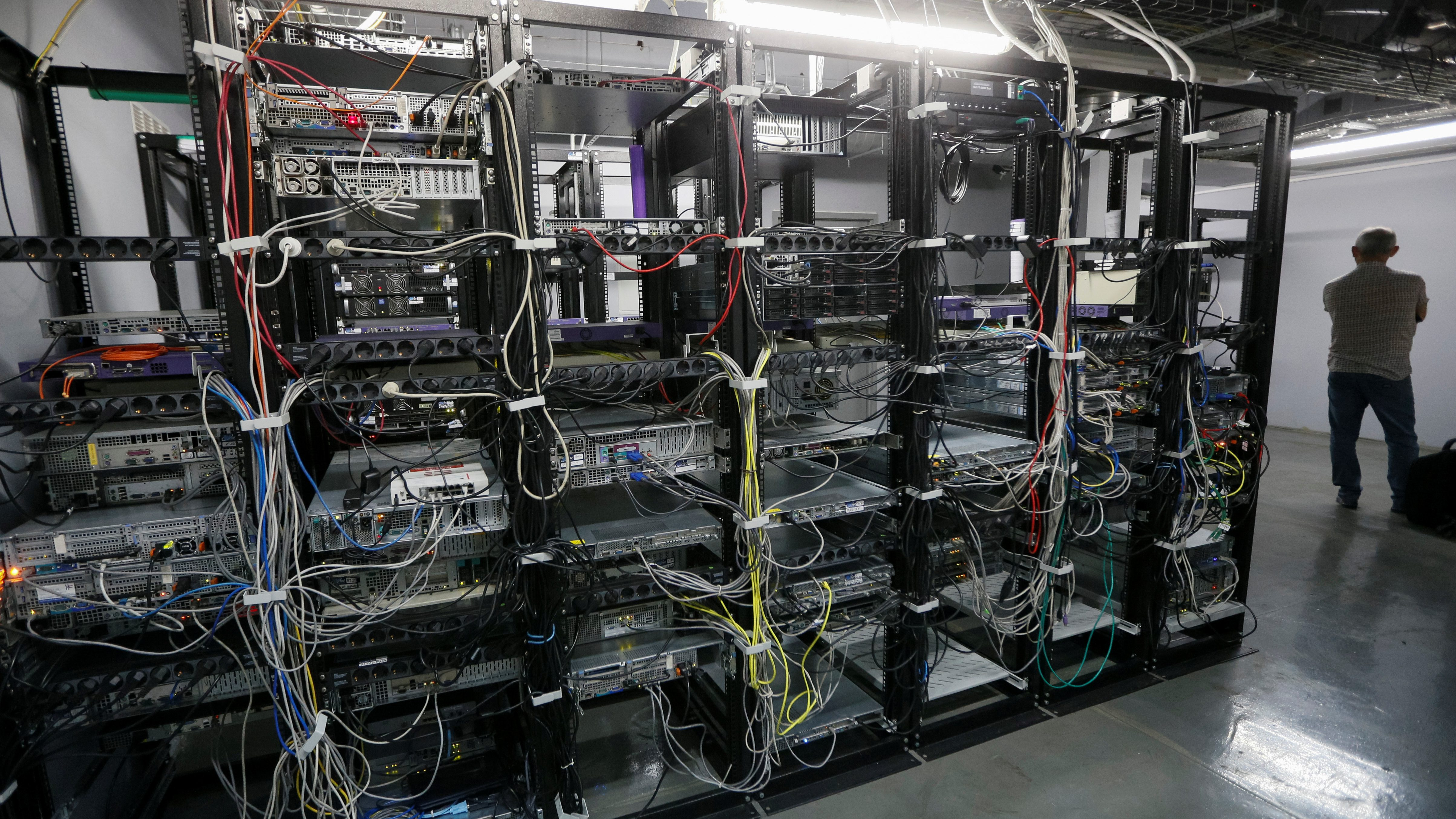 Computer servers are seen at the headquarters of the Wnet internet service provider in Kiev
