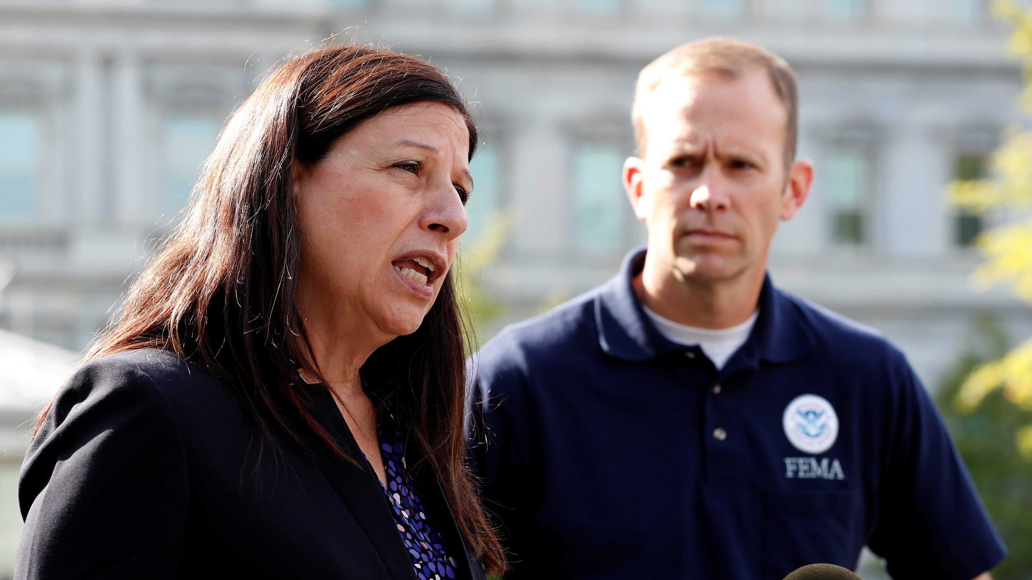 U.S. acting Secretary of Homeland Security Elaine Duke and Federal Emergency Management Agency (FEMA) Administrator Brock Long speak to reporters about Hurricane Maria relief efforts after meeting at the White House in Washington, U.S. September 26, 2017.  REUTERS/Jonathan Ernst - RC1A026E8AC0