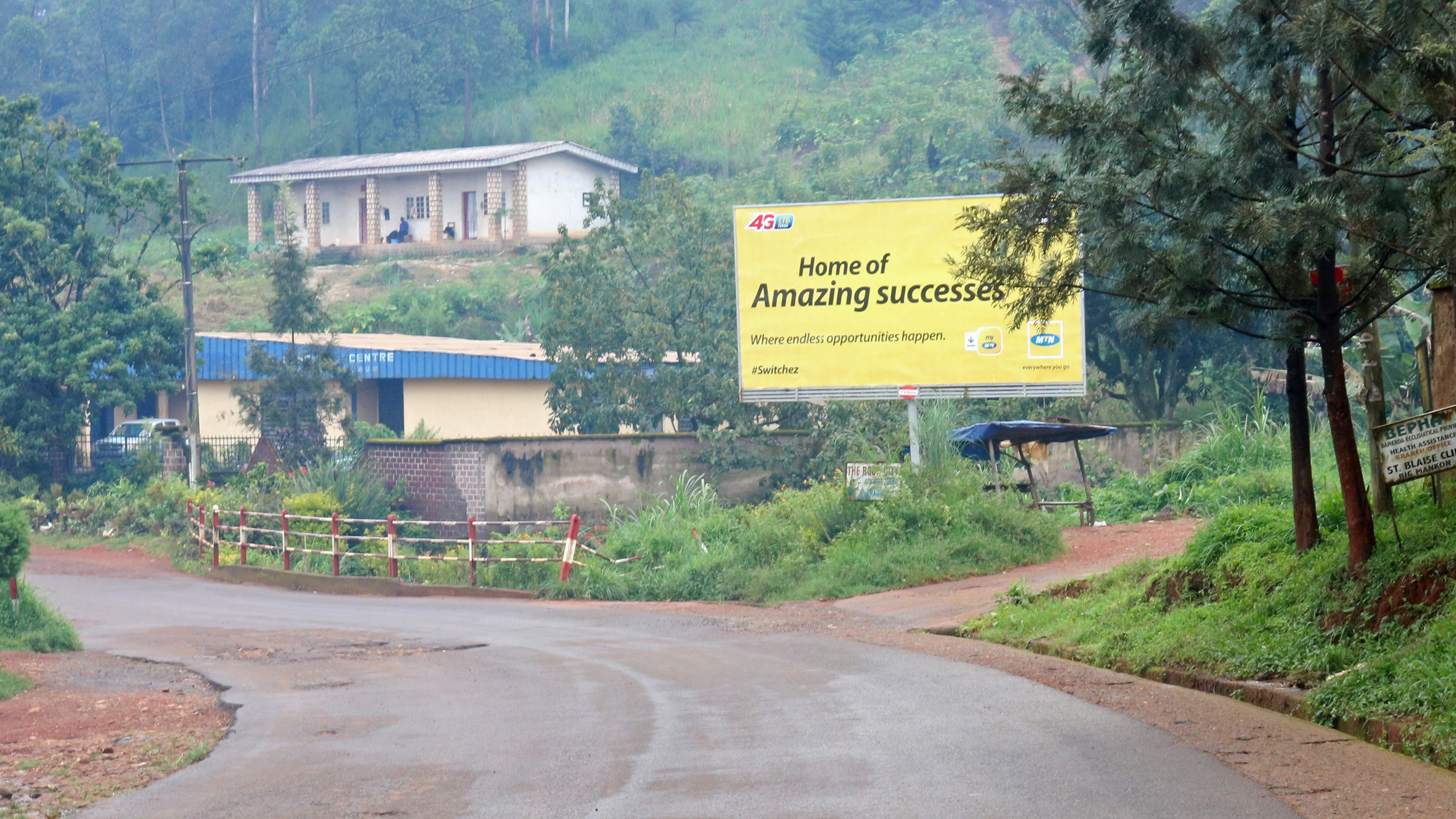 A view shows an empty road in the English-speaking city of Bamenda