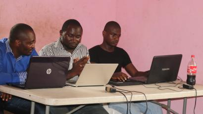 Young startup promoters work on their computers in New Bonako village, Cameroon March 28, 2017 2017. Picture taken March 28, 2017.