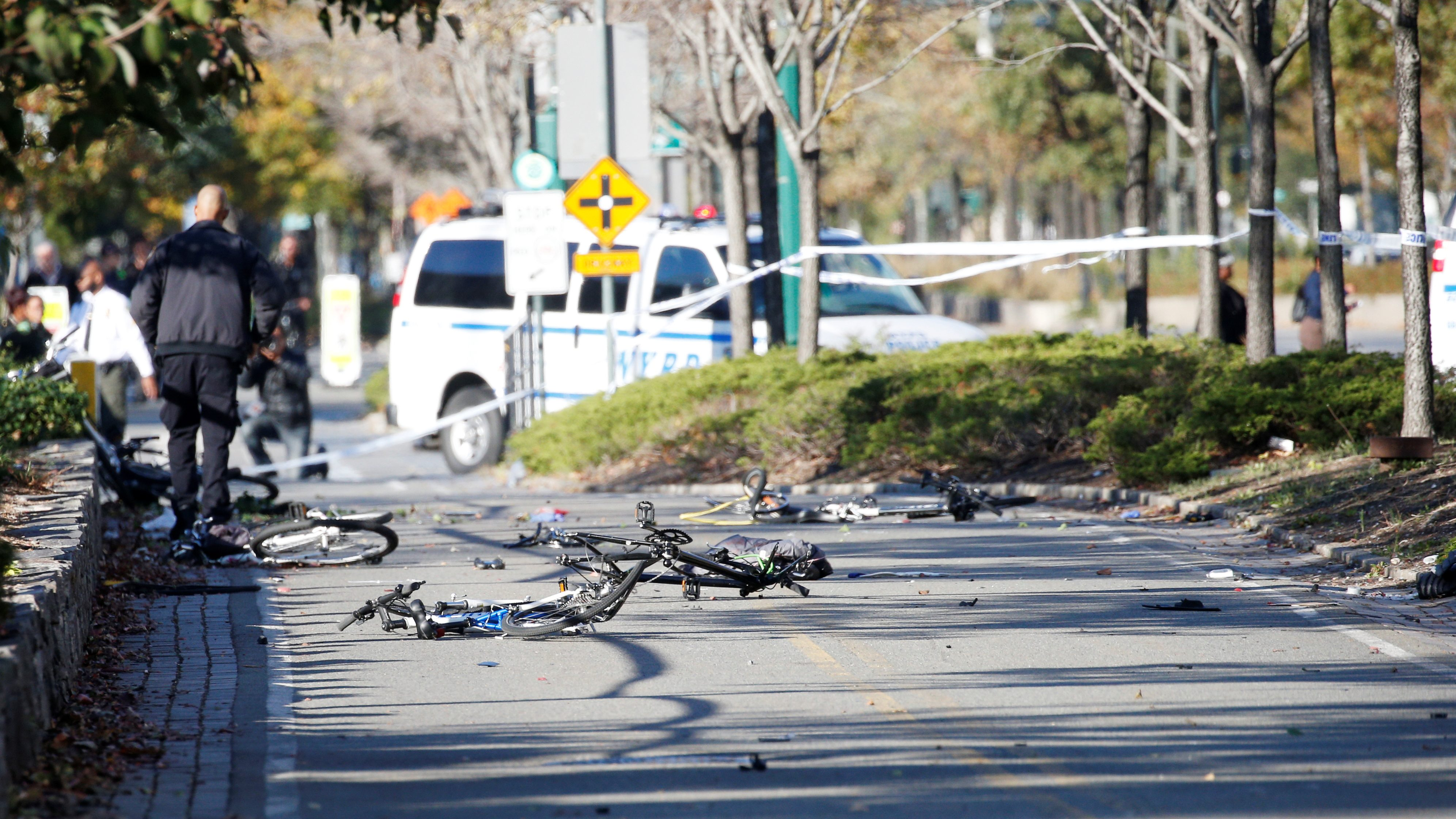 Multiple bikes are crushed along a bike path in lower Manhattan in New York