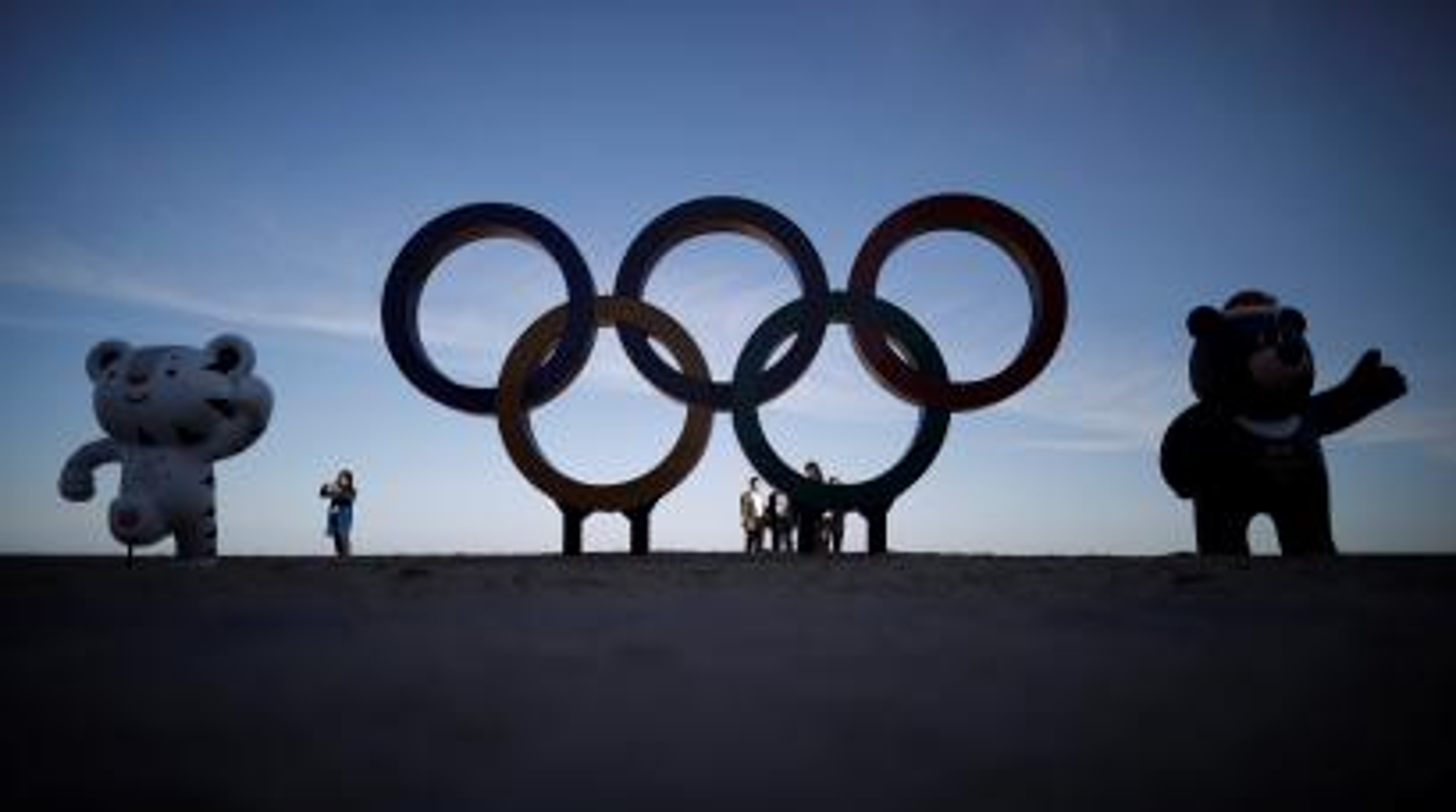 The 2018 PyeongChang Winter Olympics mascot Soohorang, Paralympics mascot Bandabi and the Olympic Rings are displayed at the Gyeongpodae beach in Gangneung