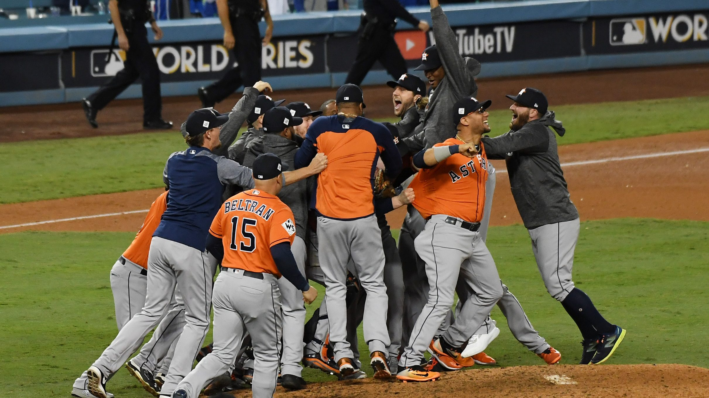 Nov 1, 2017; Los Angeles, CA, USA; The Houston Astros celebrate defeating the Los Angeles Dodgers in game seven to win the 2017 World Series at Dodger Stadium.