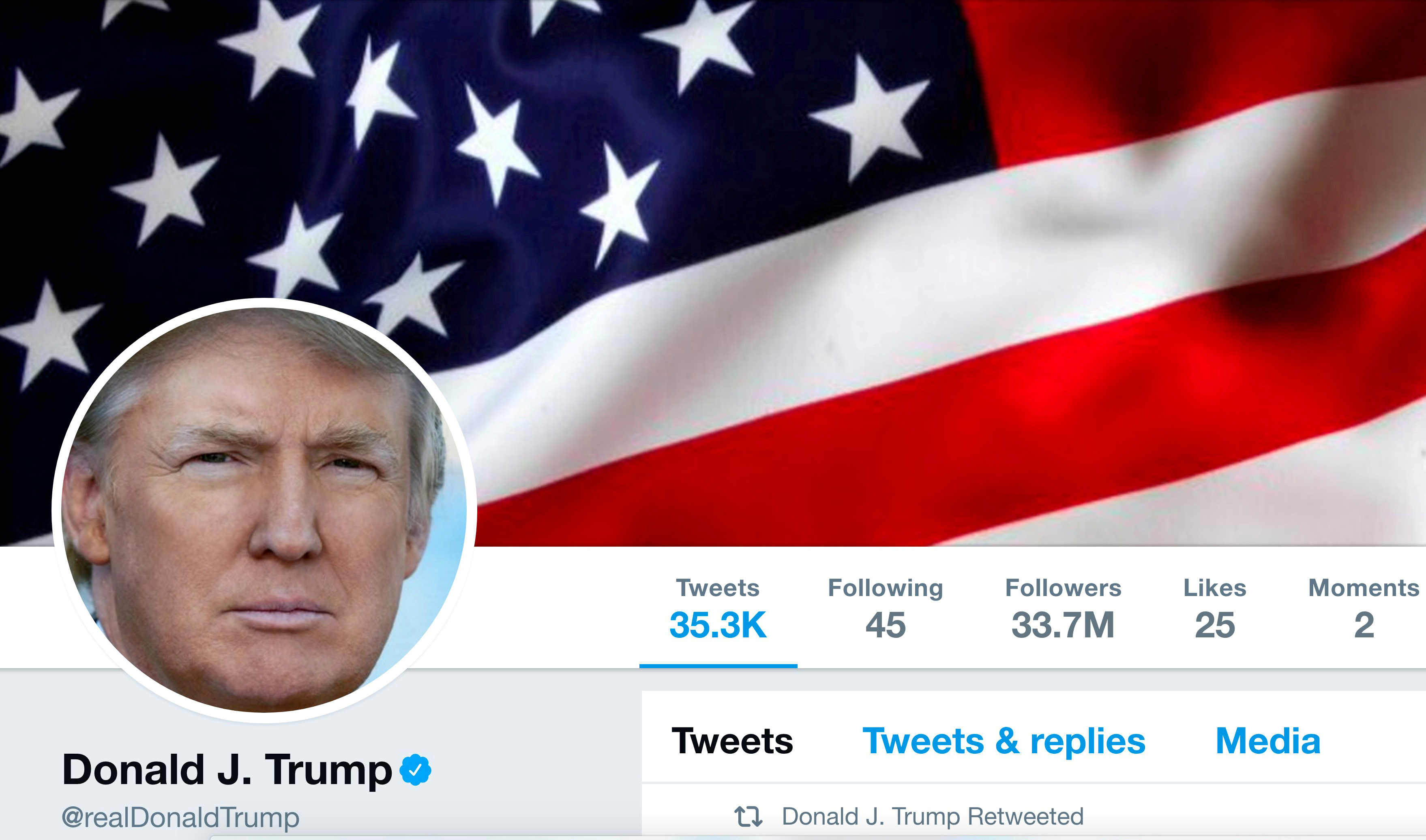 The masthead of U.S. President Donald Trump's @realDonaldTrump Twitter account is seen on July 11, 2017. @realDonaldTrump/Handout/File Photo via REUTERS ATTENTION EDITORS - THIS IMAGE WAS PROVIDED BY A THIRD PARTY - RC1ED2D7D190
