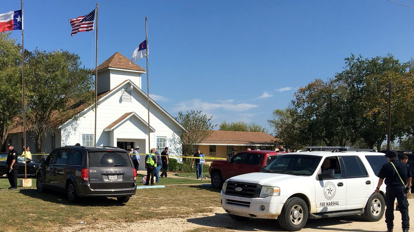 Sutherland Springs, Texas, U.S., November 5, 2017, in this picture obtained via social media. MAX MASSEY/ KSAT 12/via REUTERS THIS IMAGE HAS BEEN SUPPLIED BY A THIRD PARTY. MANDATORY CREDIT.NO RESALES. NO ARCHIVES. NO ACCESS SAN ANTONIO MEDIA MARKETS/NO RESALE - RC1FD02844D0