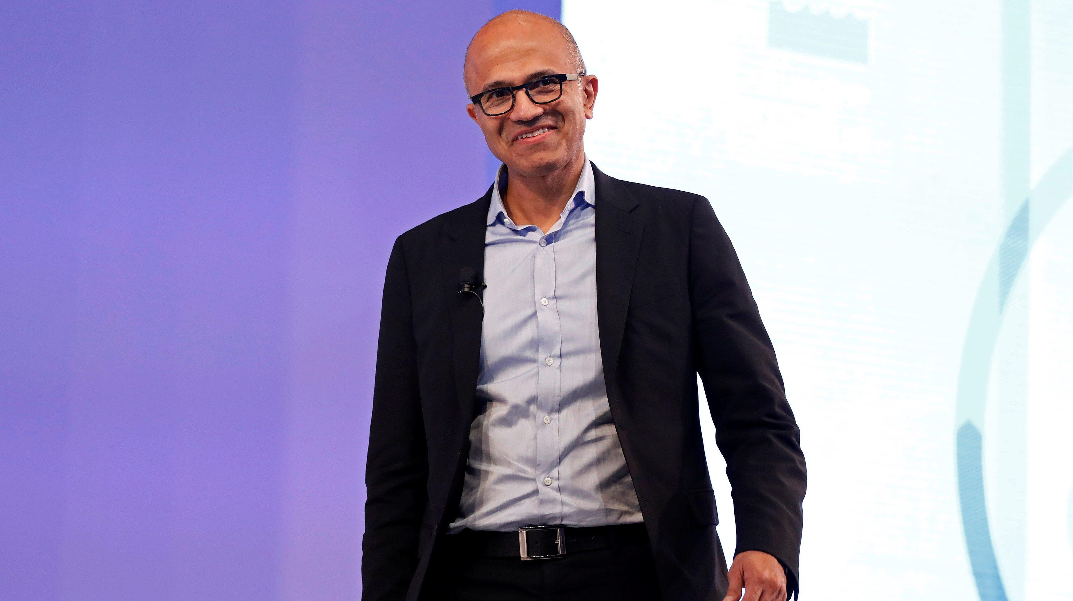 Microsoft Chief Executive Officer Satya Nadella smiles