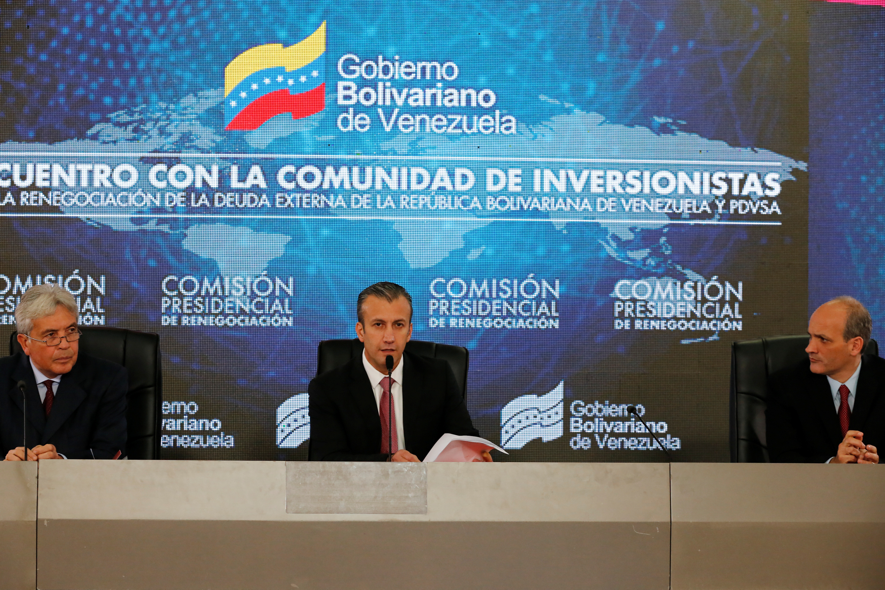 Venezuela's Vice President Tareck El Aissami speaks during a meeting with bondholders and their representatives, in Caracas