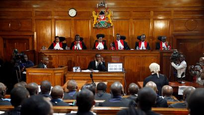 Kenya's Supreme Court judges attend a hearing regarding petitions challenging the result of the presidential election rerun at Kenya's Supreme Court in Nairobi, Kenya November 14, 2017.
